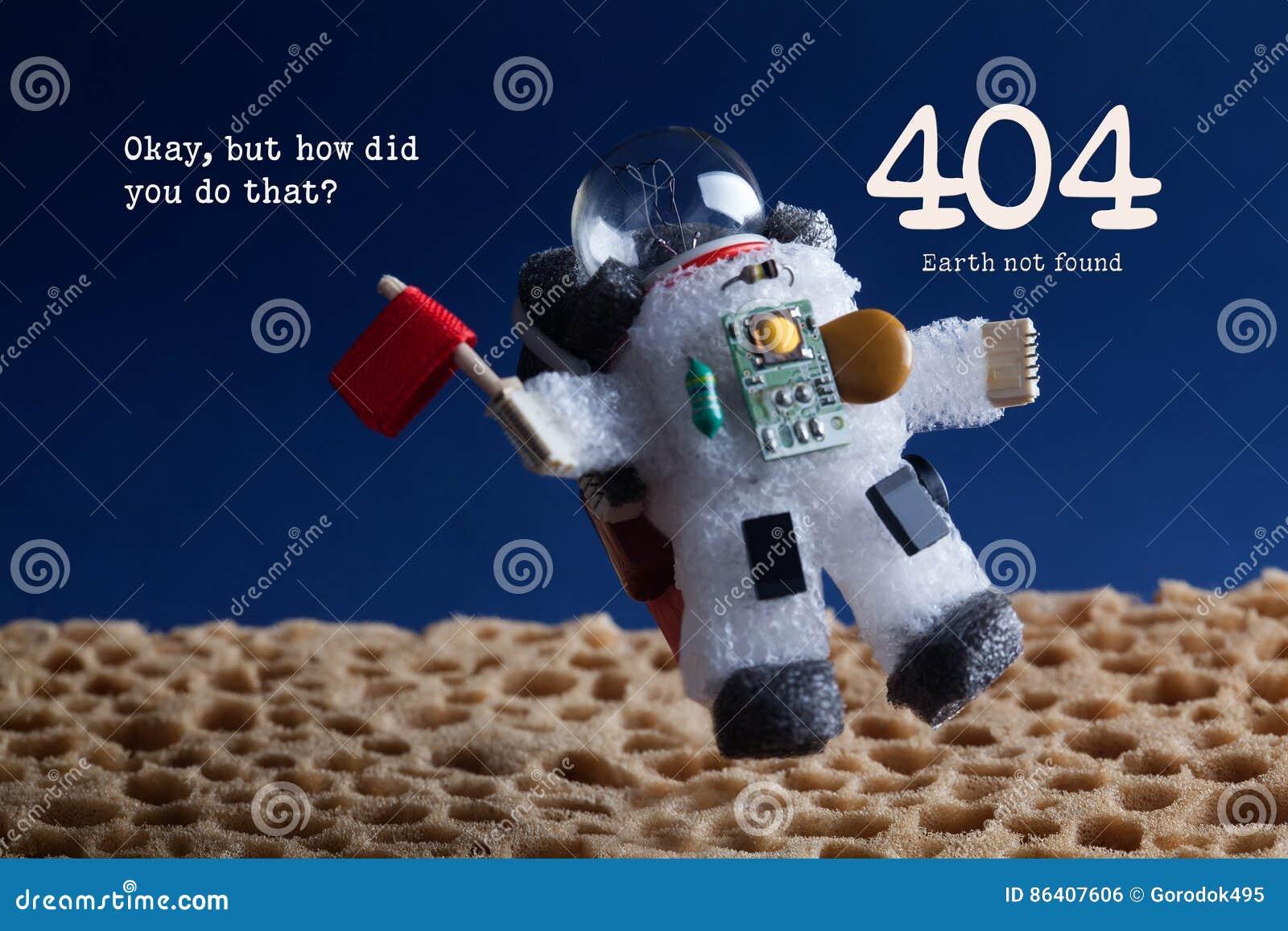 Gevonden niet van de 404 foutenpagina concept Van de de stratosfeerplaneet van de ruimtevaardersastronaut drijvende blauwe de hem