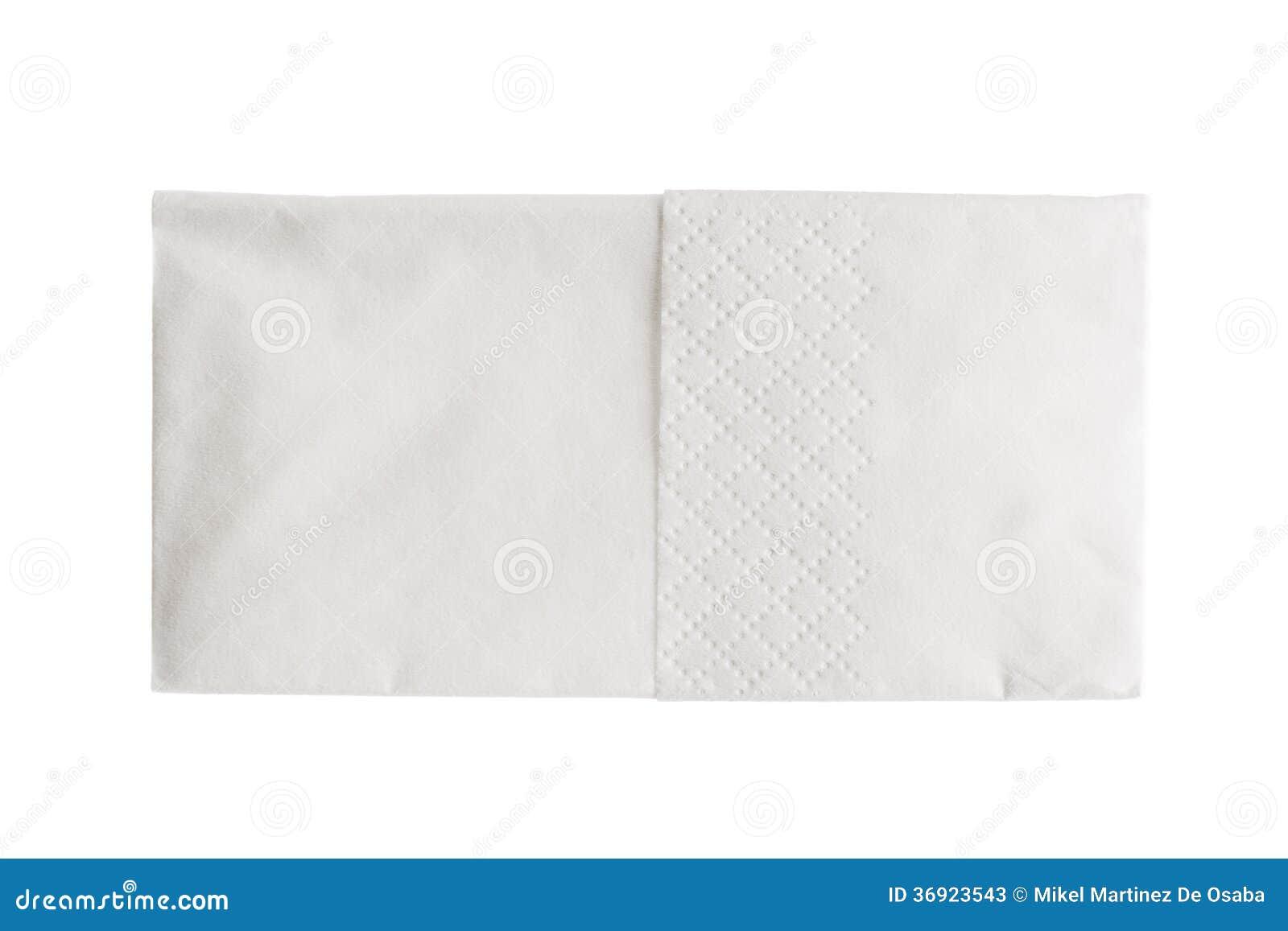 Gevouwen die Witboekzakdoek op wit wordt geïsoleerd