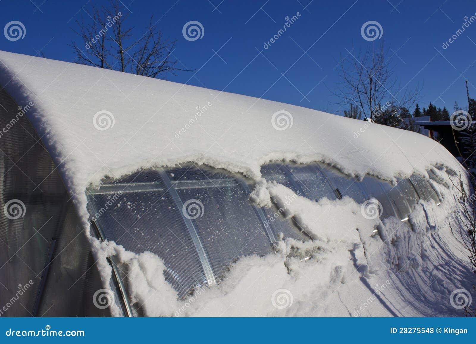 Gewachshaus Unter Dem Schnee Am Winter Stockfoto Bild Von Klima
