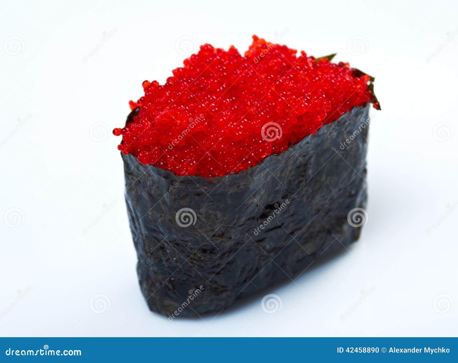 Gewürzsushi mit Kaviar, sauced Scheiben