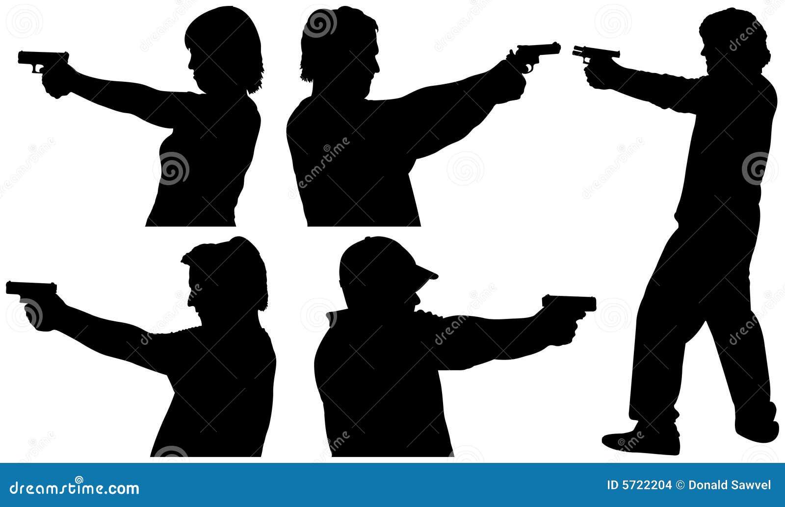 Gewehr-Schießen-Schattenbilder