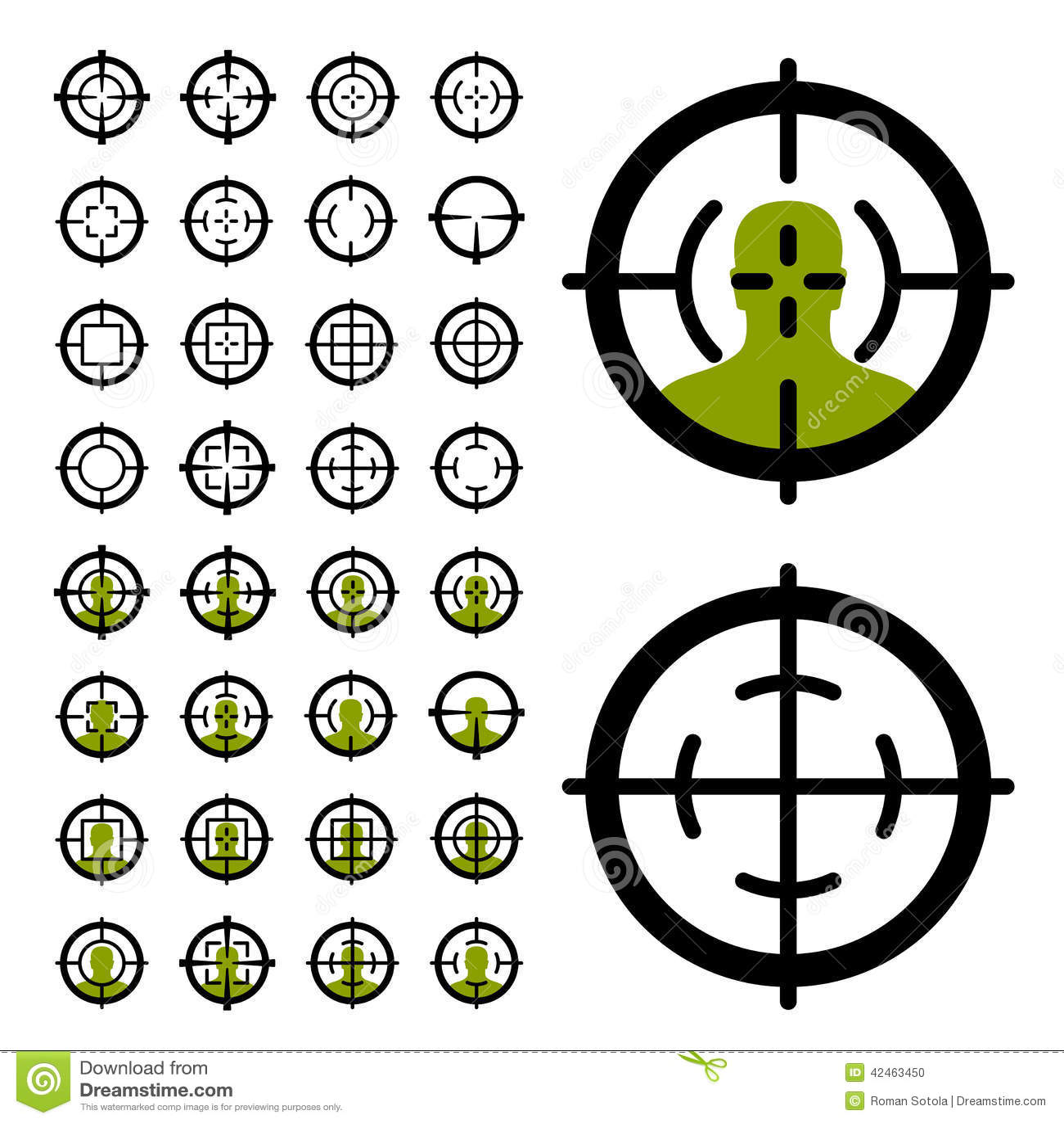 Gewehrfadenkreuz-Anblicksymbole