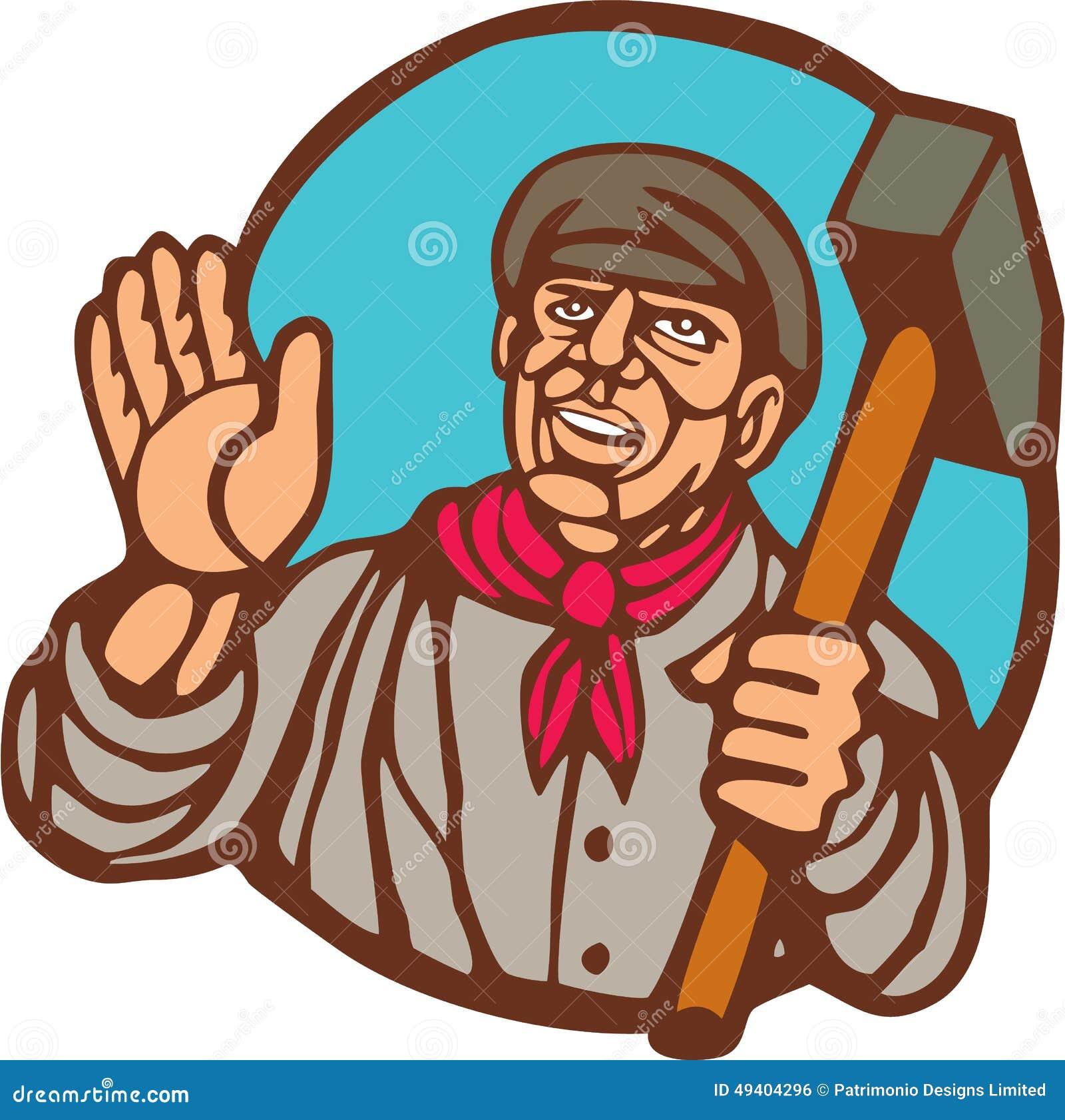Download Gewerkschaftsarbeiter Mit Vorschlaghammer Linocut Stock Abbildung - Illustration von printmaking, abbildung: 49404296