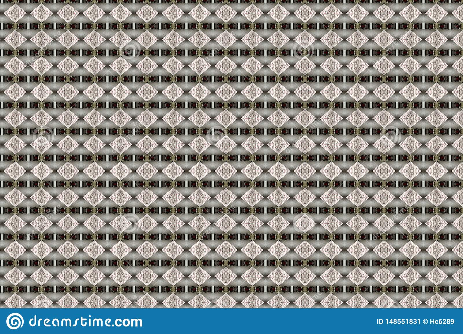 Geweven Beige Diamond Geometric Abstract Pattern