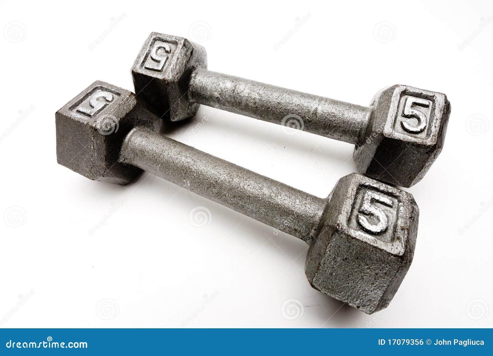 Gewichte der Nahaufnahme zwei Handtrennten weißen Hintergrund