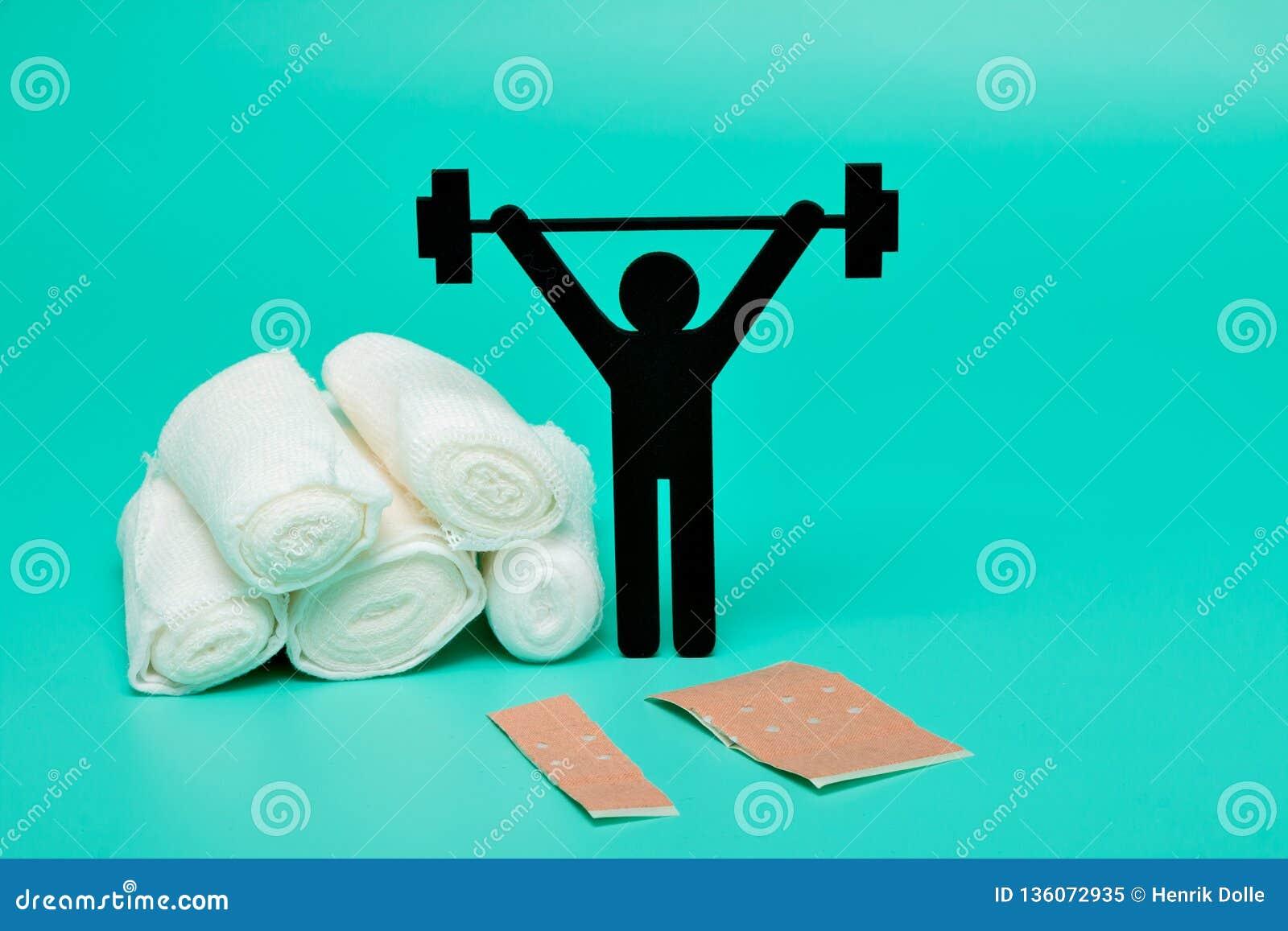 Gewichtheffenpictogram, het broodje van het pleisterverband en schaar