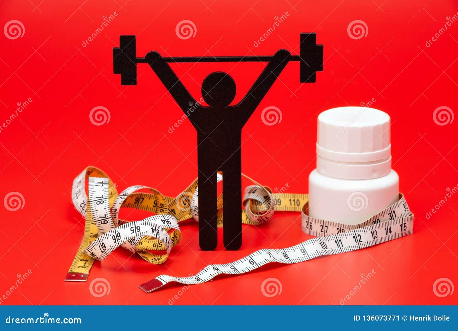 Gewichtheffenpictogram met pillen, meetlint