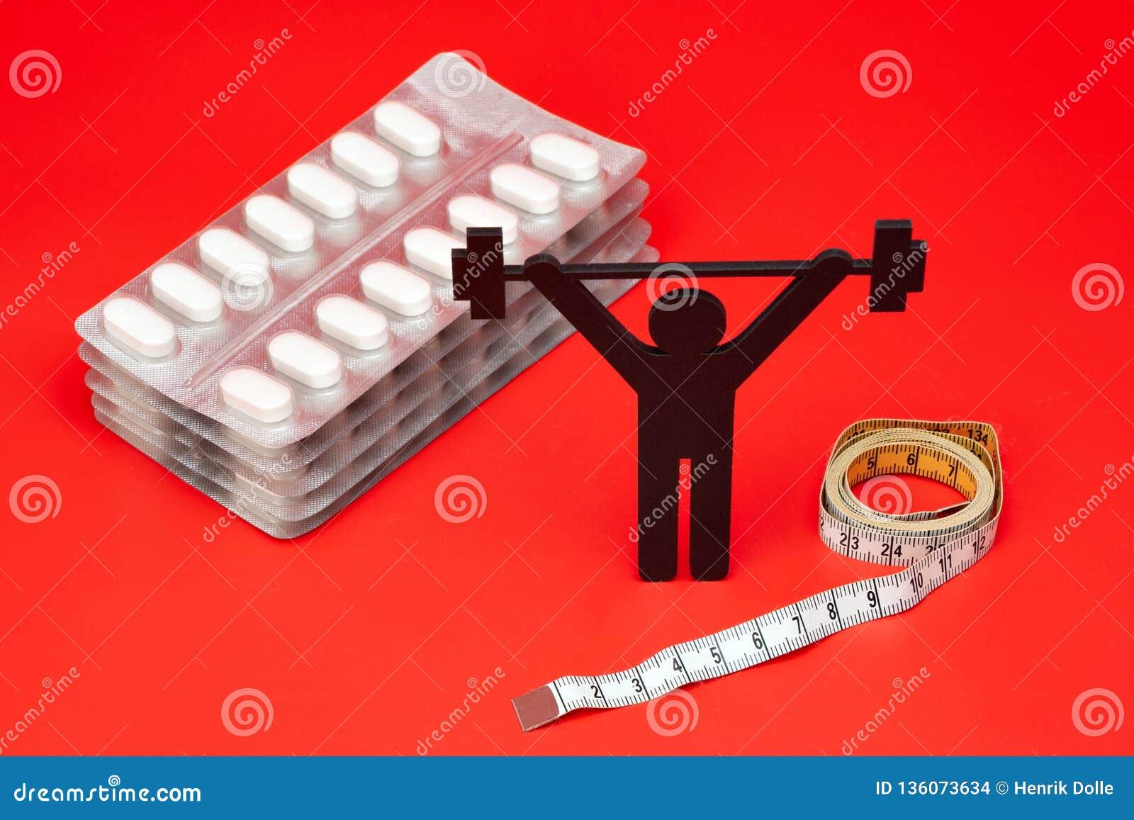 Gewichtheffenpictogram, pillen, meetlint