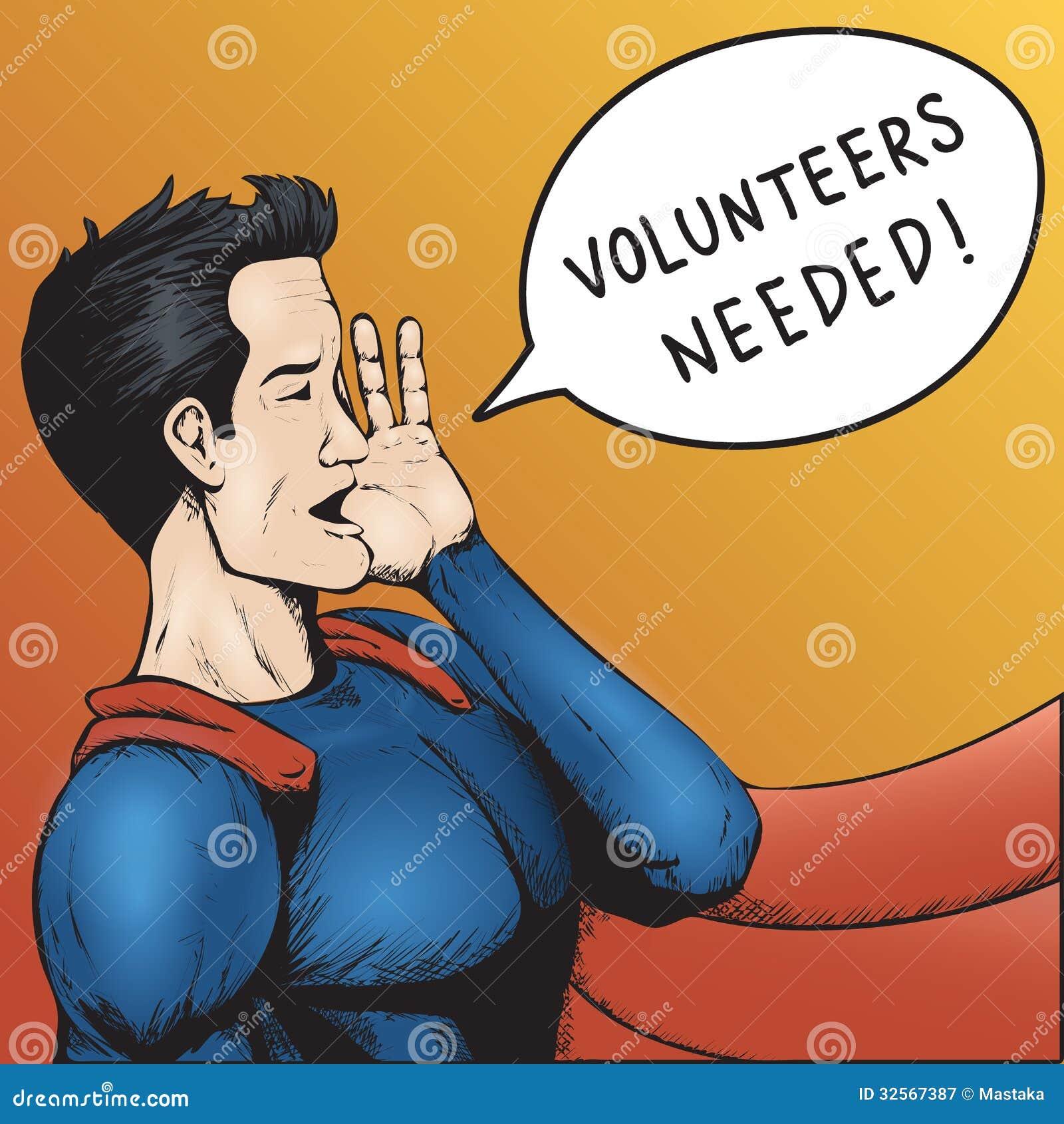 Gewilde vrijwilligers! Beeldverhaal Vectorillustratie.