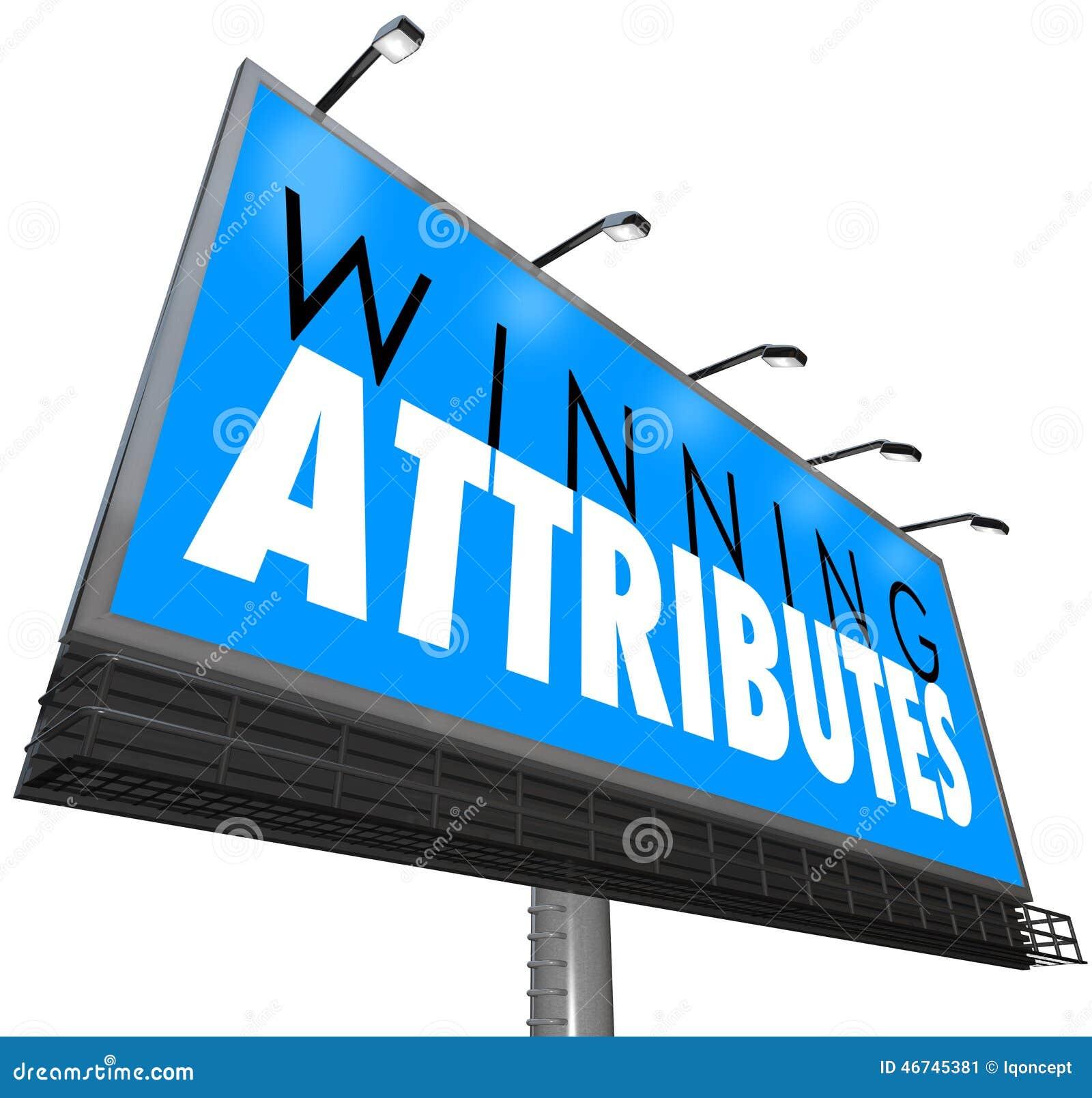 Gewinnende Attribut-Zeichen-Anschlagtafel-erfolgreiche Merkmal-Qualitäten