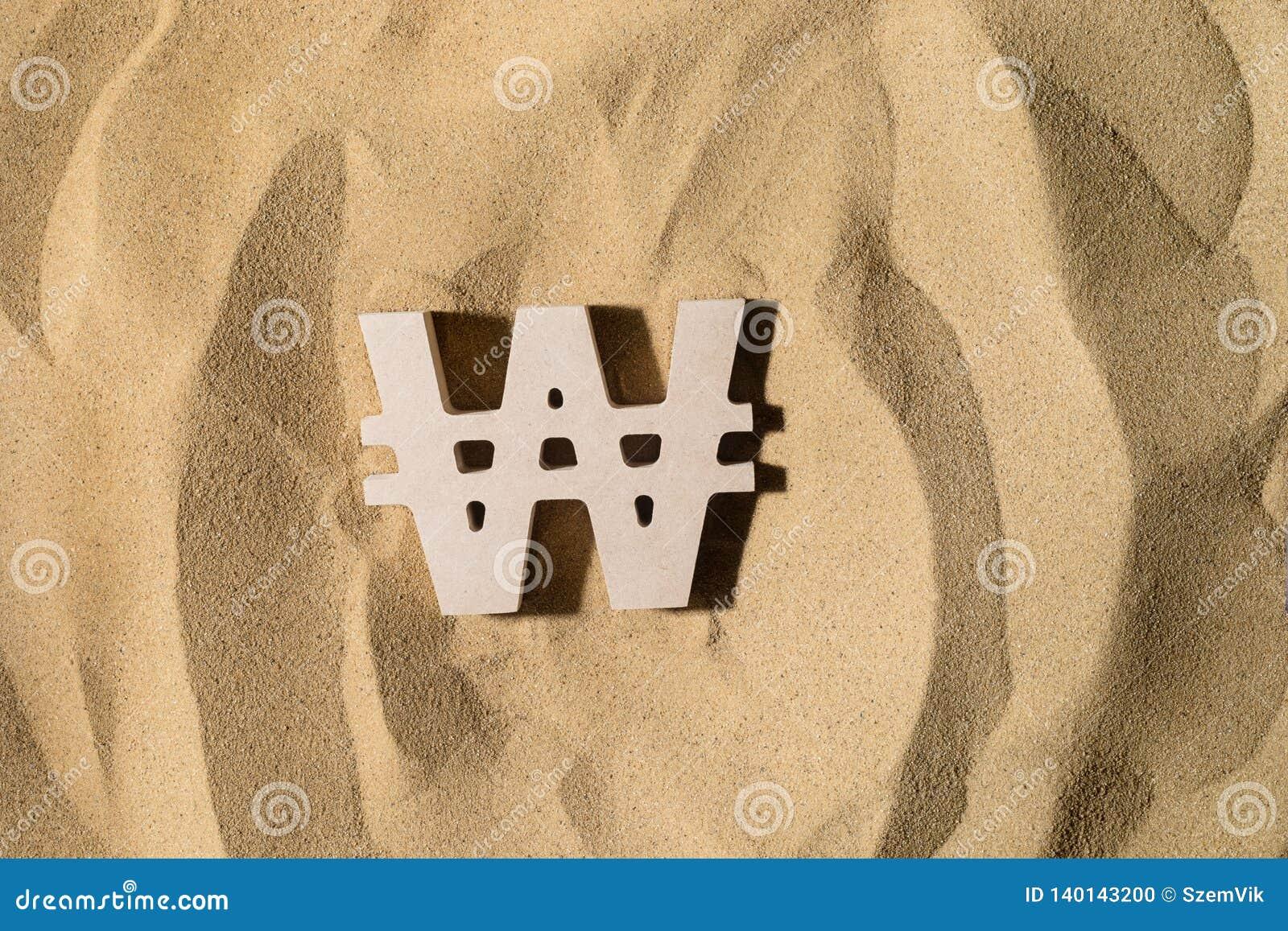Gewonnenes Zeichen auf dem Sand