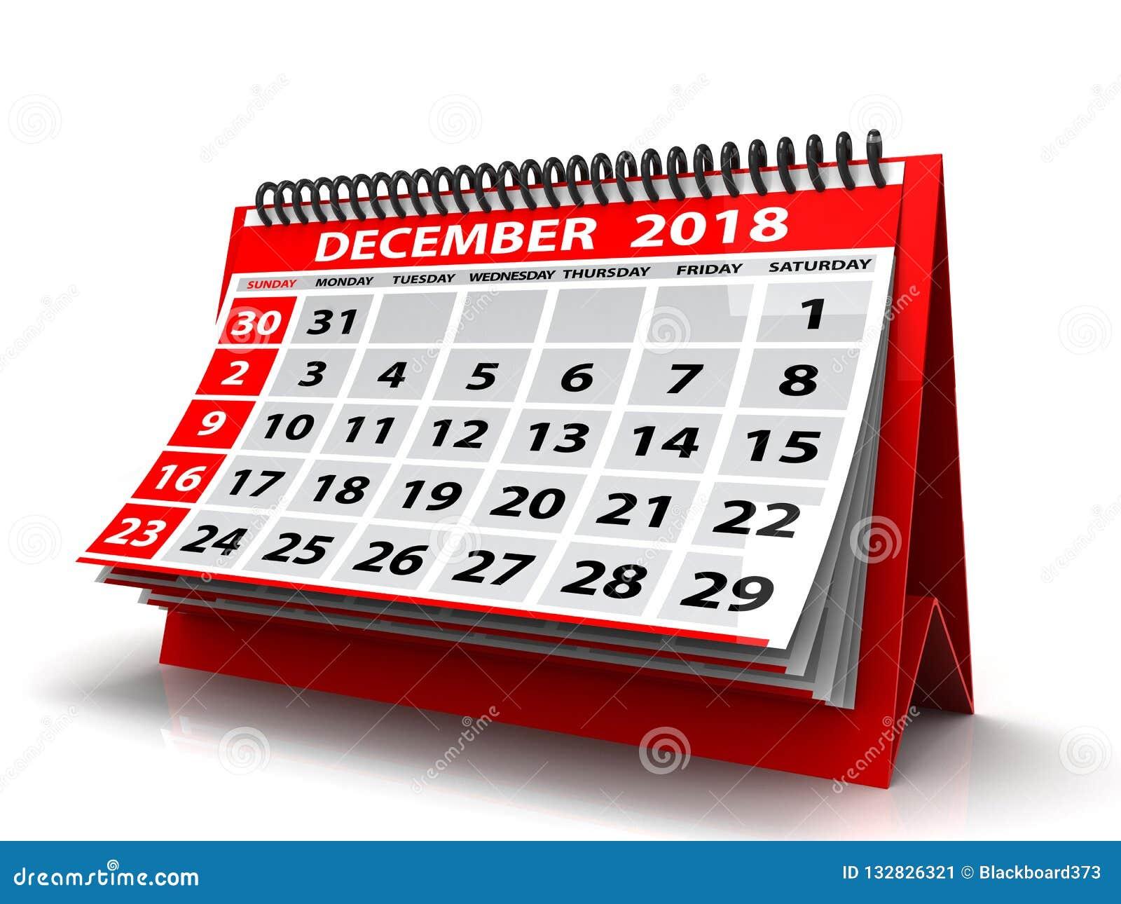 Gewundener Kalender im Dezember 2018 Dezember 2018 Kalender im weißen Hintergrund Abbildung 3D