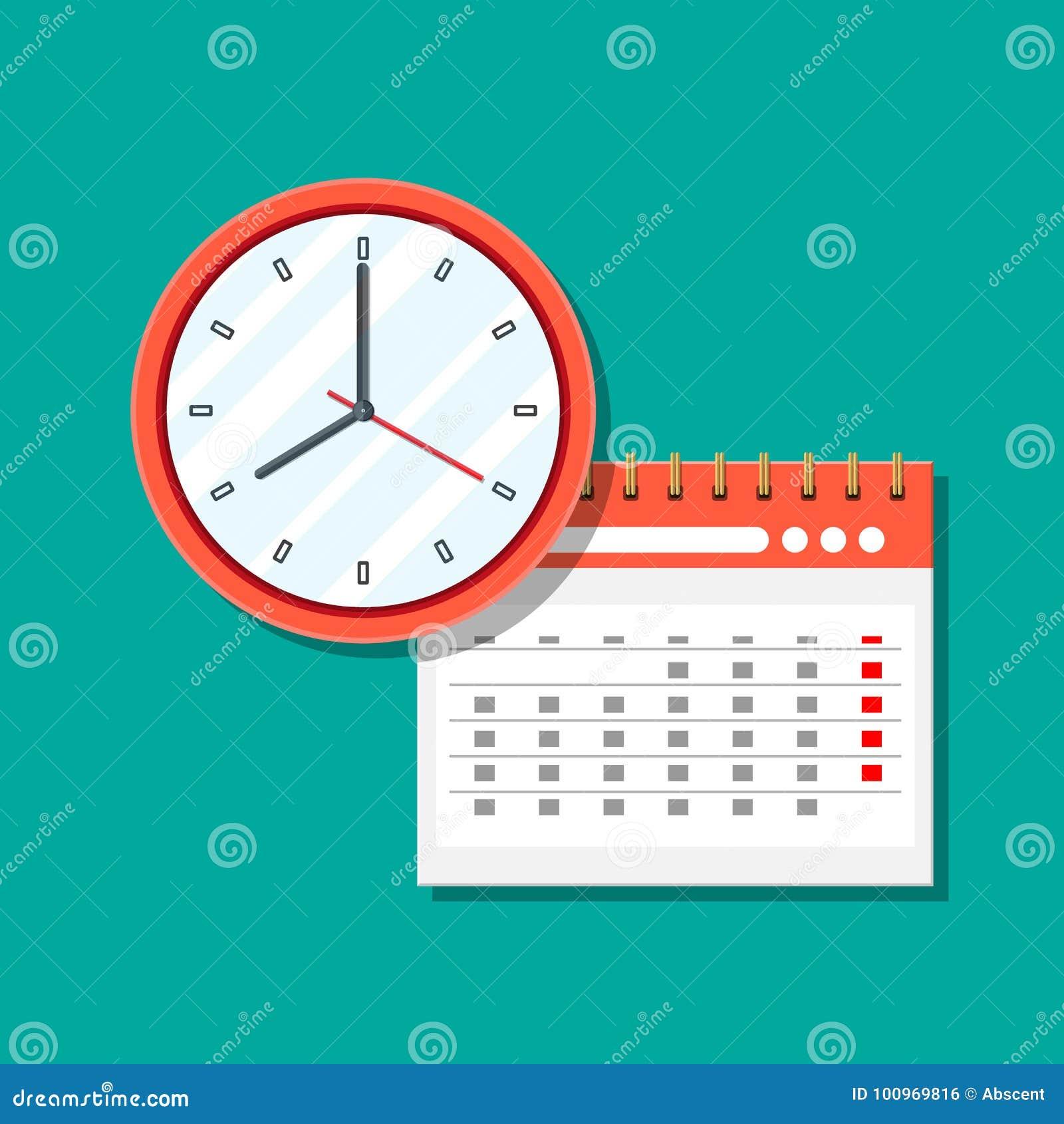 Gewundener Papierwandkalender und Uhren