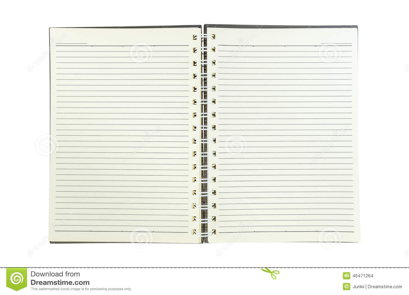 Gewundenes Notizbuch Mit Linie Papier Lokalisiert Auf Weiß Stockfoto ...