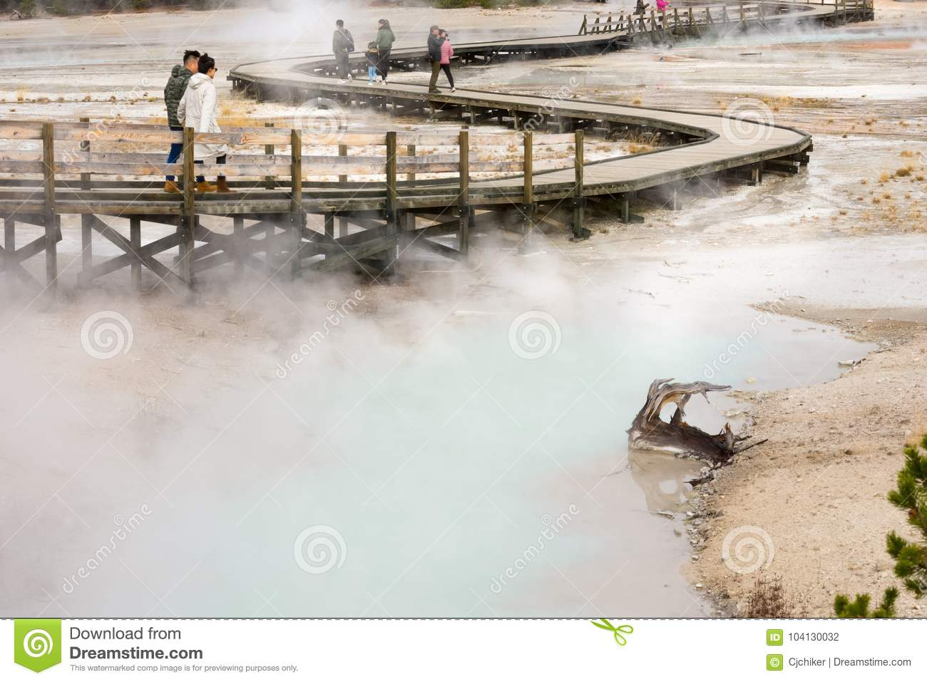 Geyser Basin Walkway In Yellowstone National Park Landscape
