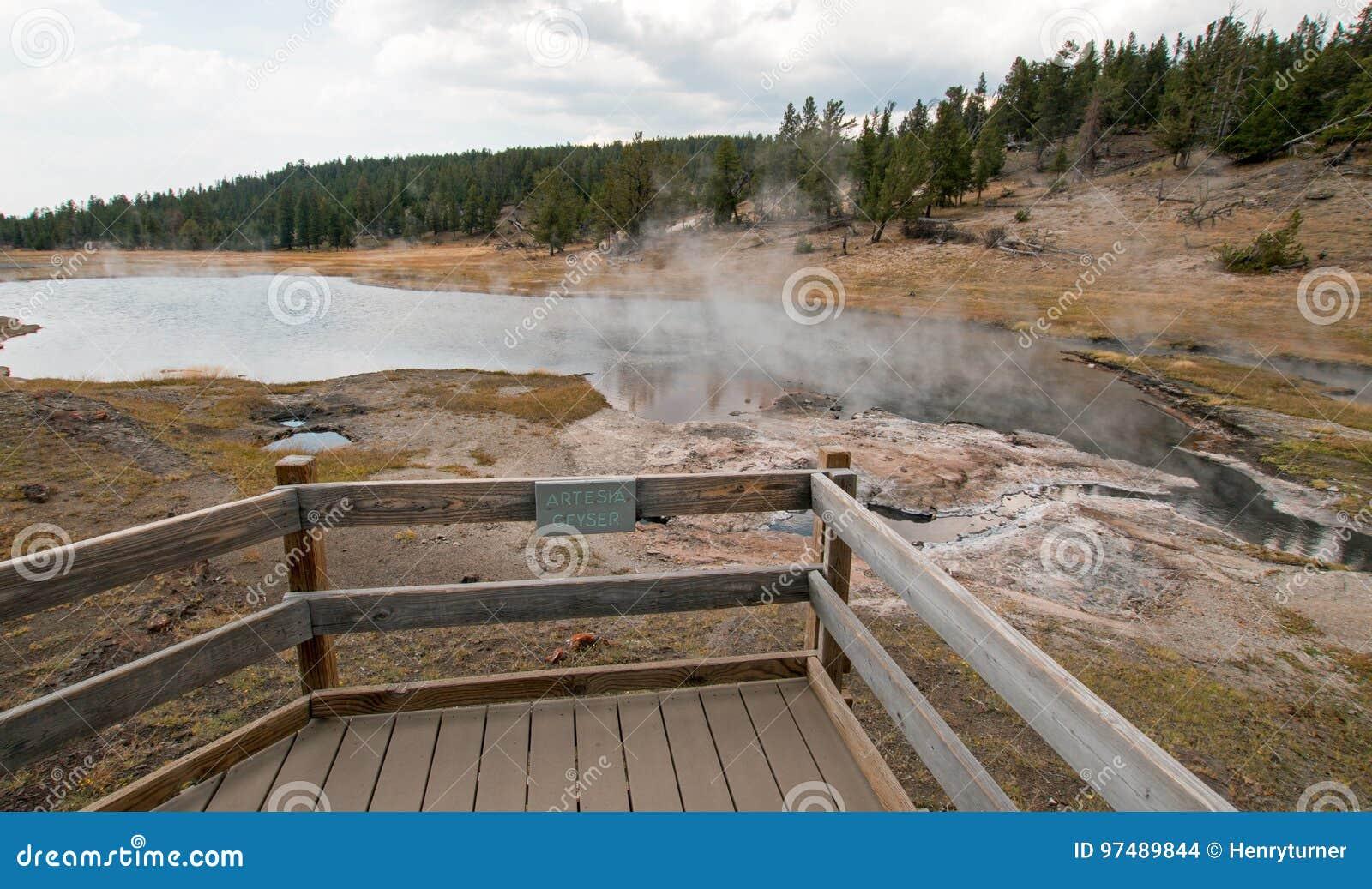 Geyser di Artesia accanto al lago Firehole nel bacino più basso del geyser nel parco nazionale di Yellowstone nel Wyoming U.S.A.
