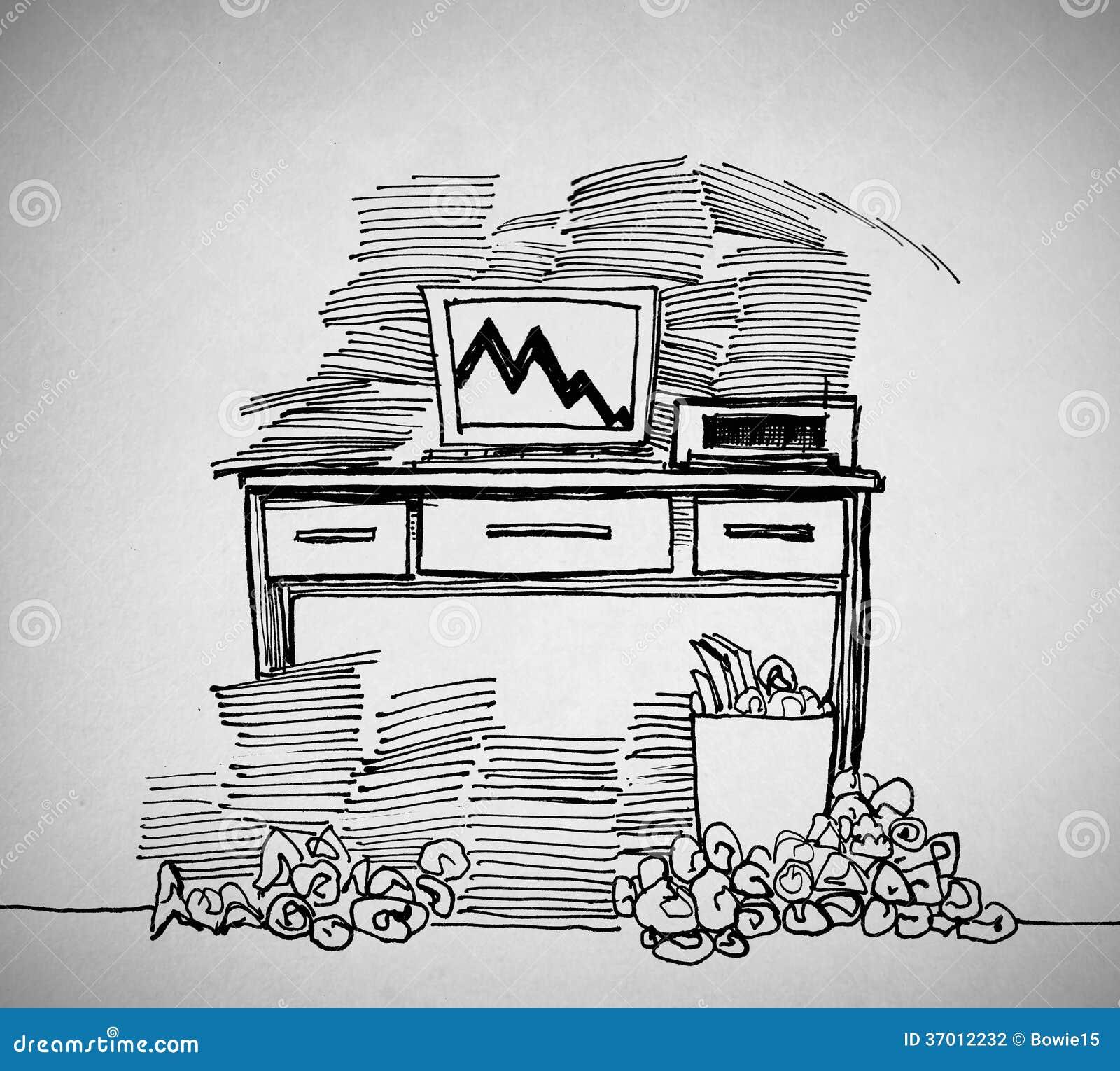 Schreibtisch gezeichnet  Gezeichnet Von Einem Schreibtisch Stockfotografie - Bild: 37012232