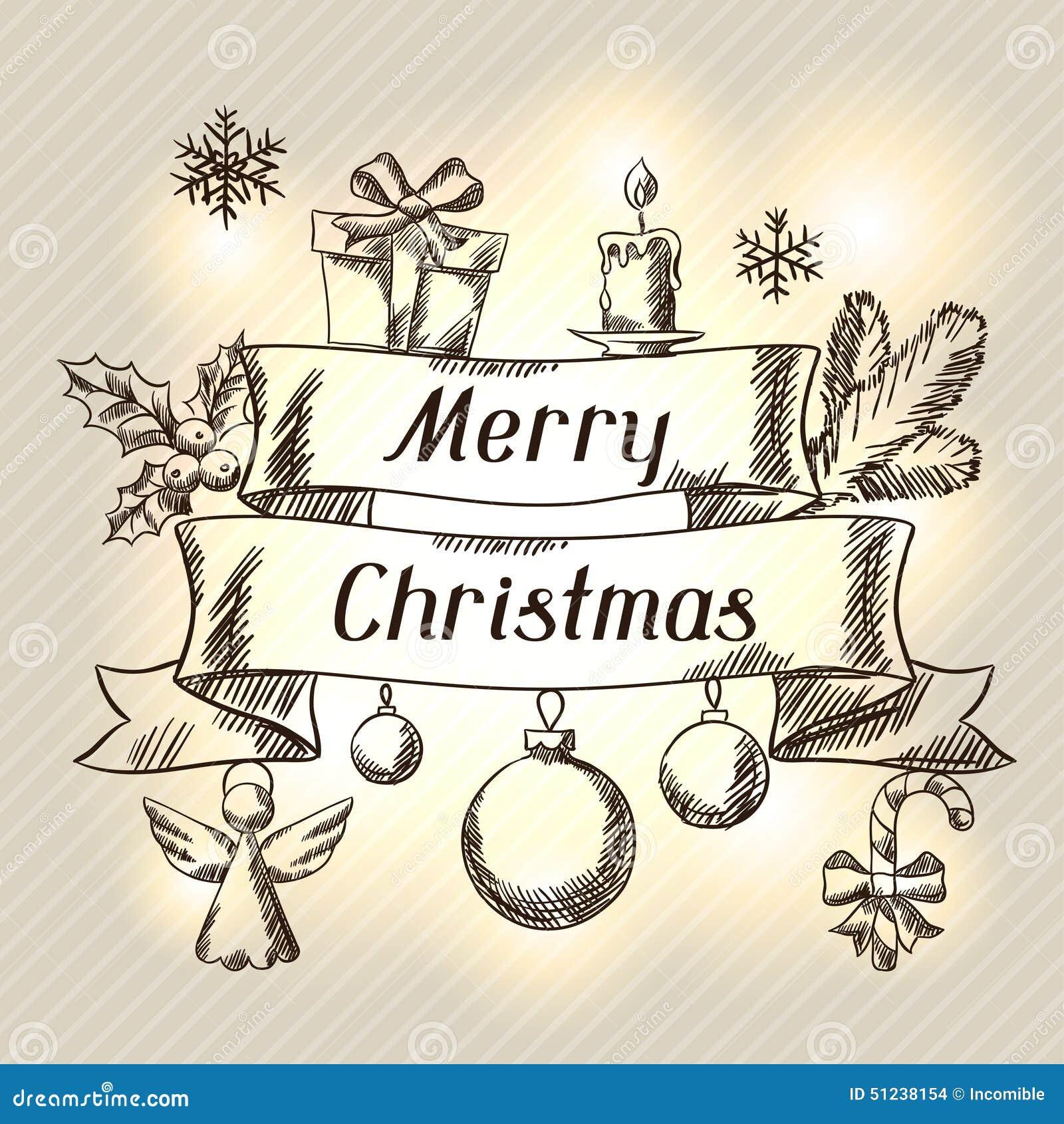 gezeichnete einladungskarte der frohen weihnachten hand. Black Bedroom Furniture Sets. Home Design Ideas