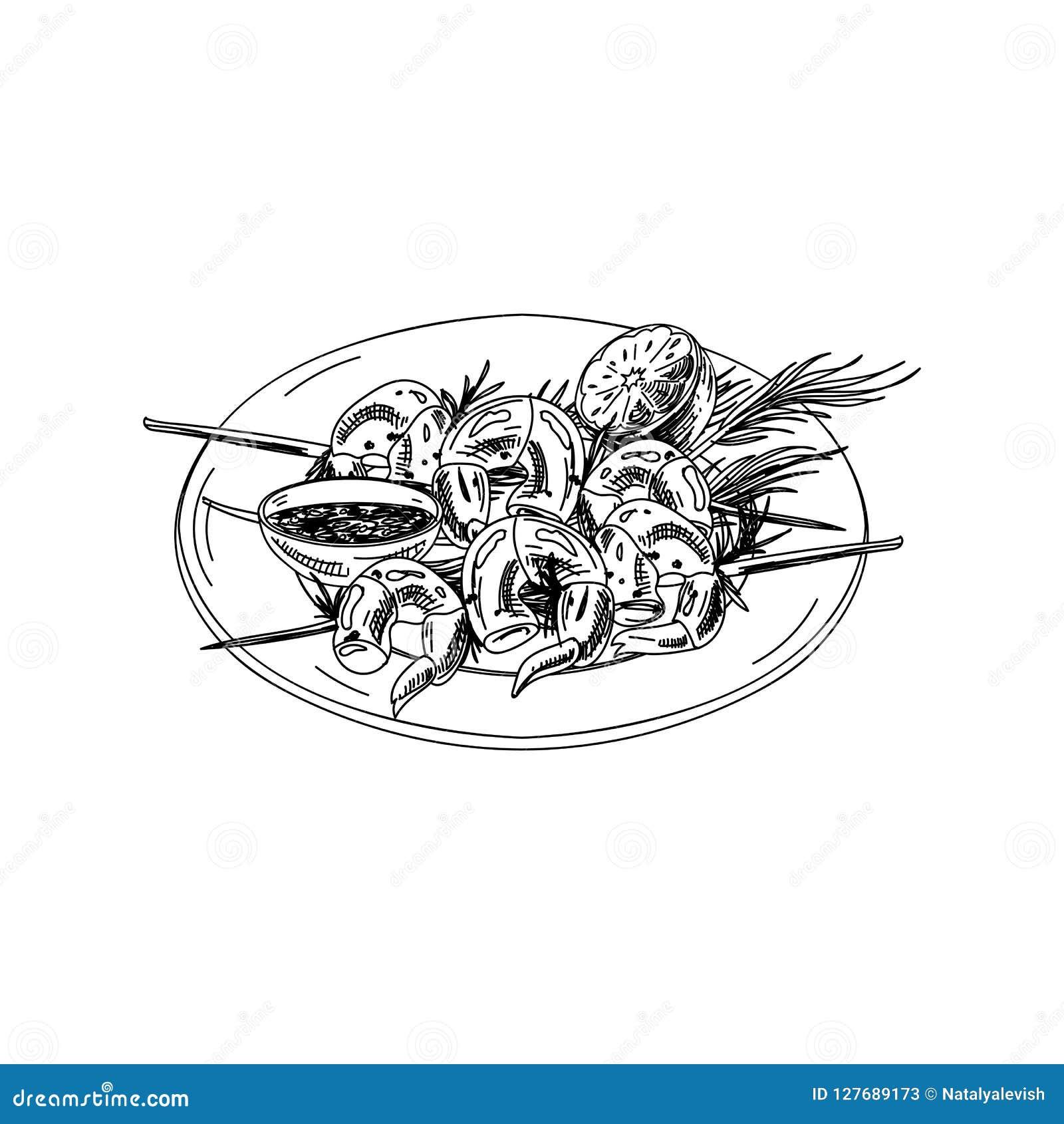 Gezeichnete Garnelenaufsteckspindeln des Vektors Hand mit Soße