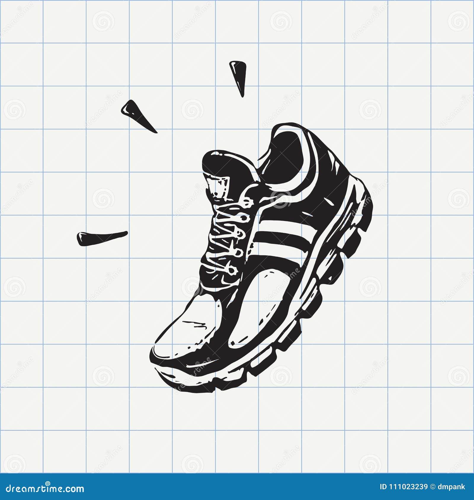 Handgezeichnete Sportschuhe Stock Vektor Art und mehr Bilder