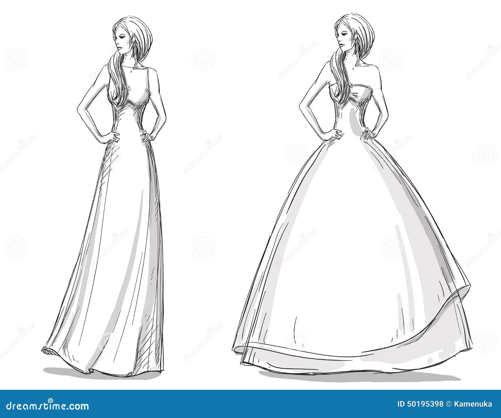 Desain Karikatur: Gezeichnete Illustration Der Mode Hand Langes Kleid Braut