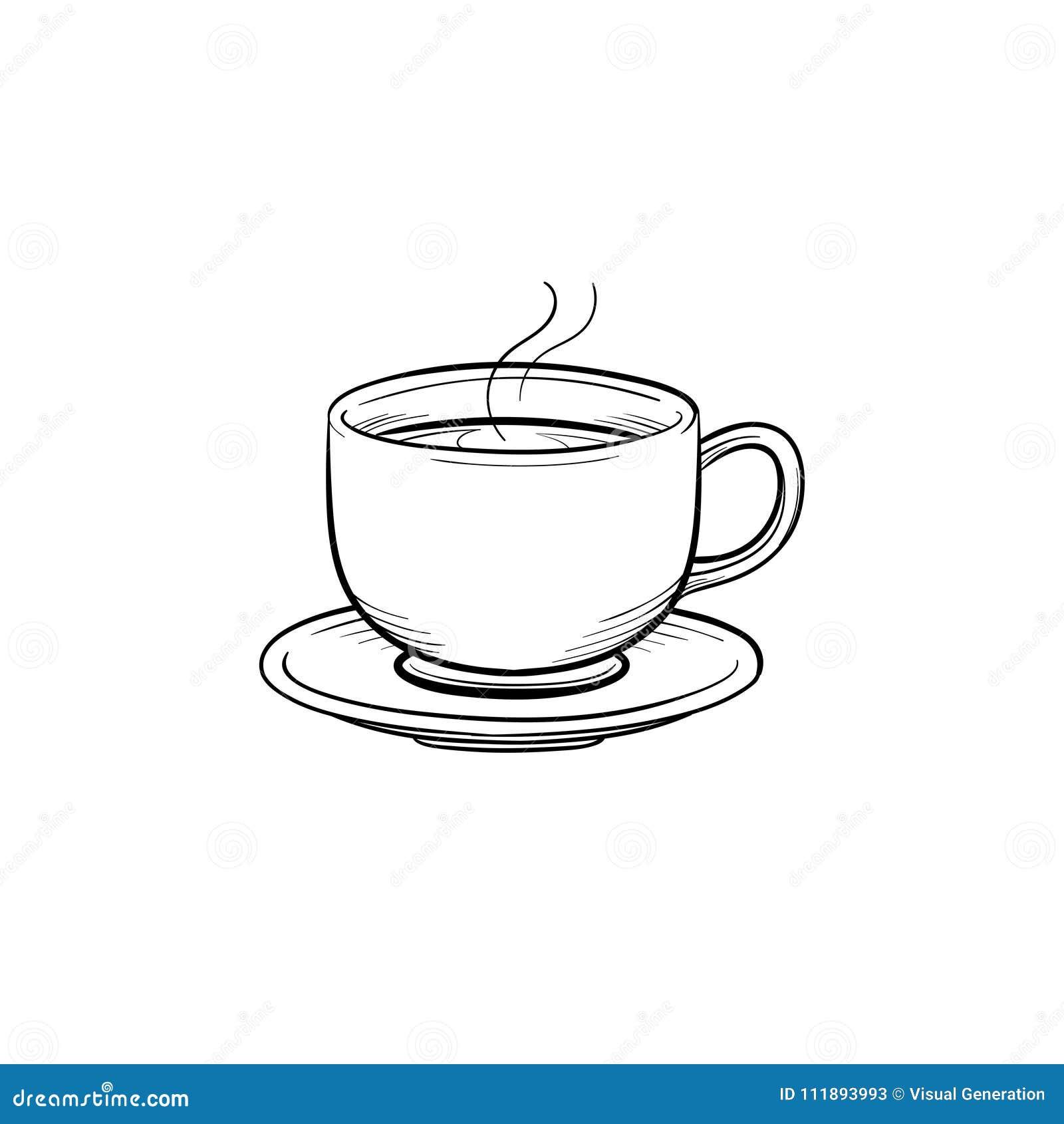 Gezeichnete Skizzenikone Der Kaffeetasse Hand Vektor Abbildung