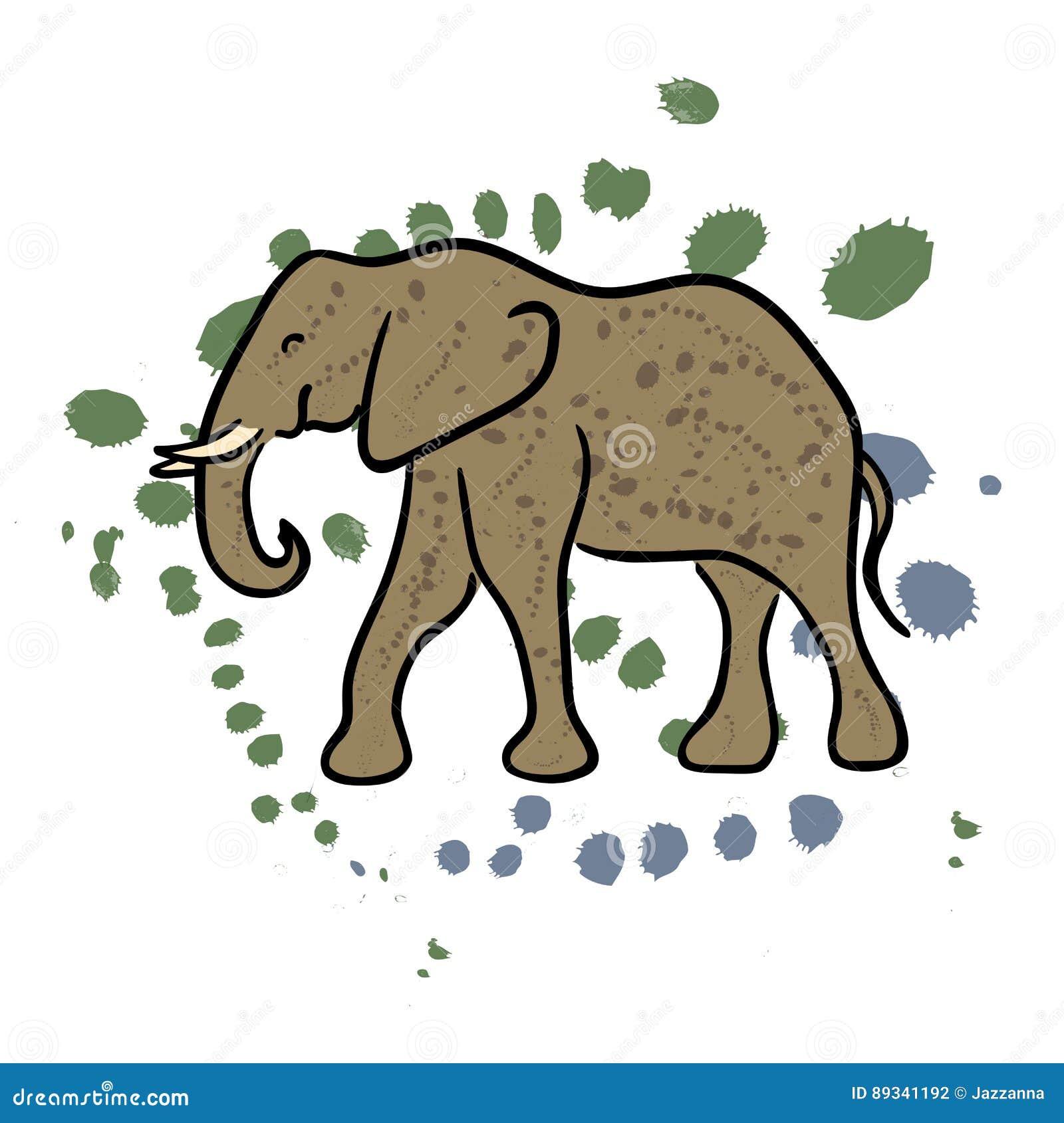 Gezeichneter Clipart Des Elefanten Hand Vektor Abbildung
