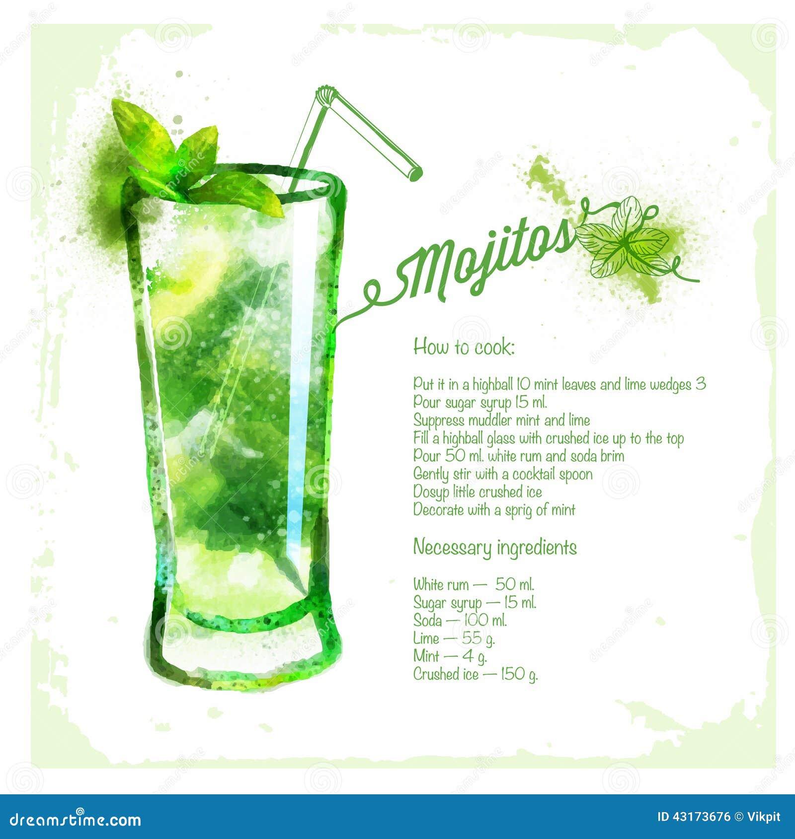 Großartig Rezept Mojito Cocktail Foto Von Pattern Es Aquarell Cocktails Vektor Abbildung -