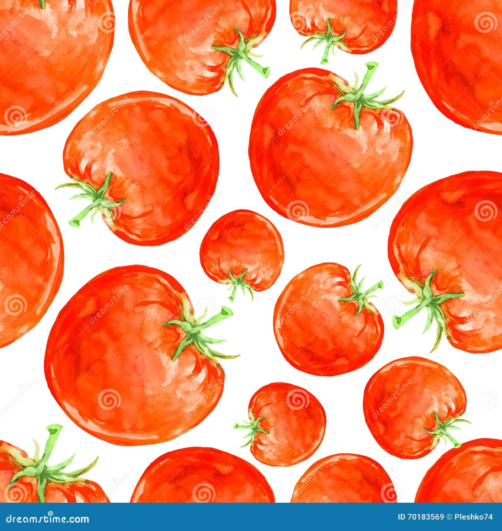gezeichnetes nahtloses muster des aquarells hand mit roten reifen tomaten vektor abbildung. Black Bedroom Furniture Sets. Home Design Ideas