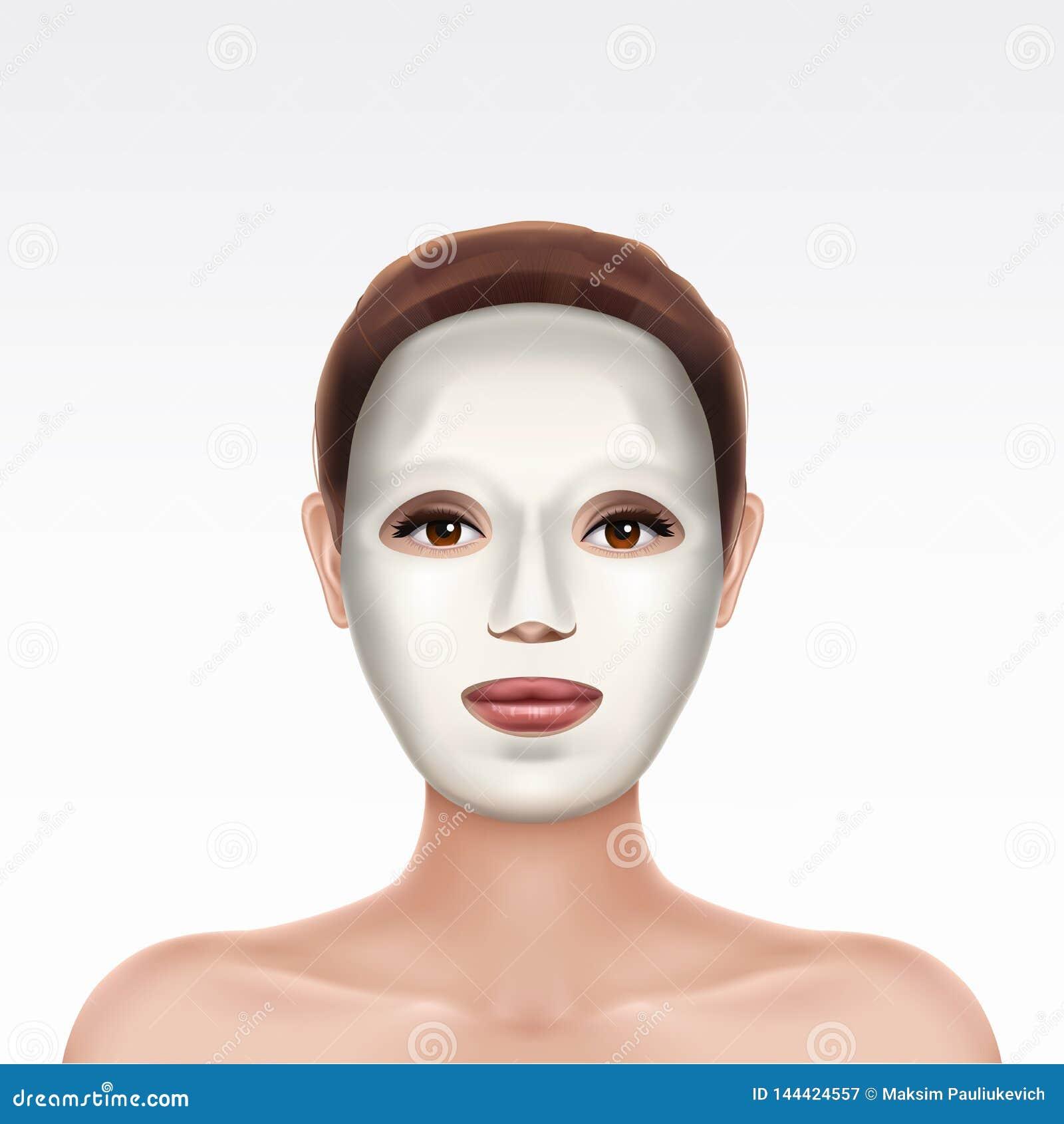 Gezicht die van jong meisje kosmetisch gezichtsmasker toepassen