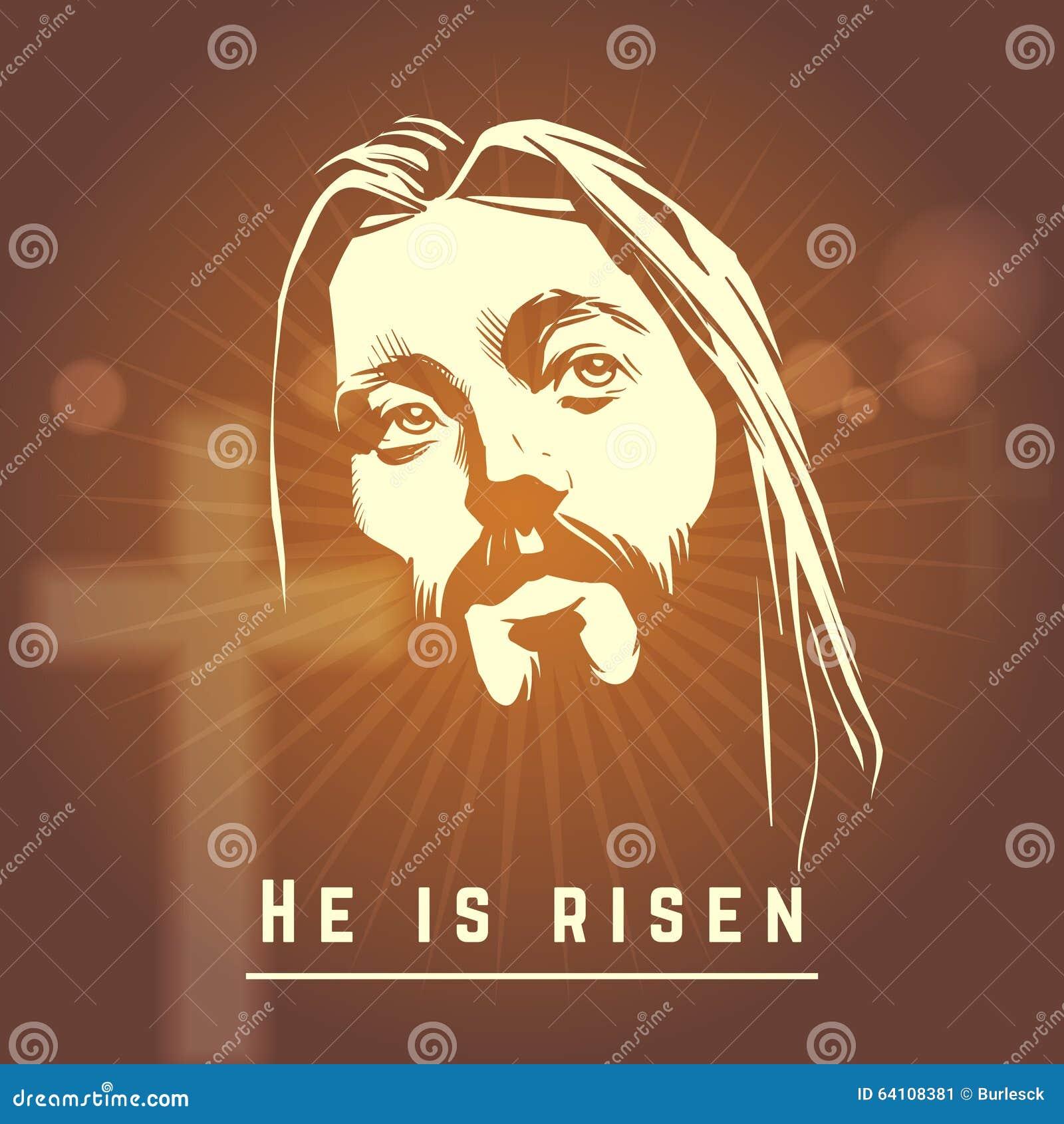 Gezicht van Jesus met is hij toegenomen tekst Pasen