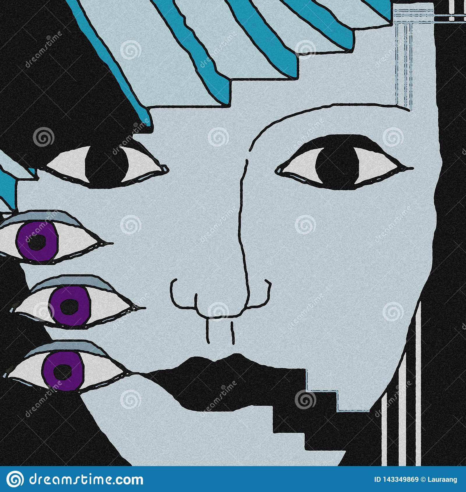 Gezichtsachtergrond De violette ogen