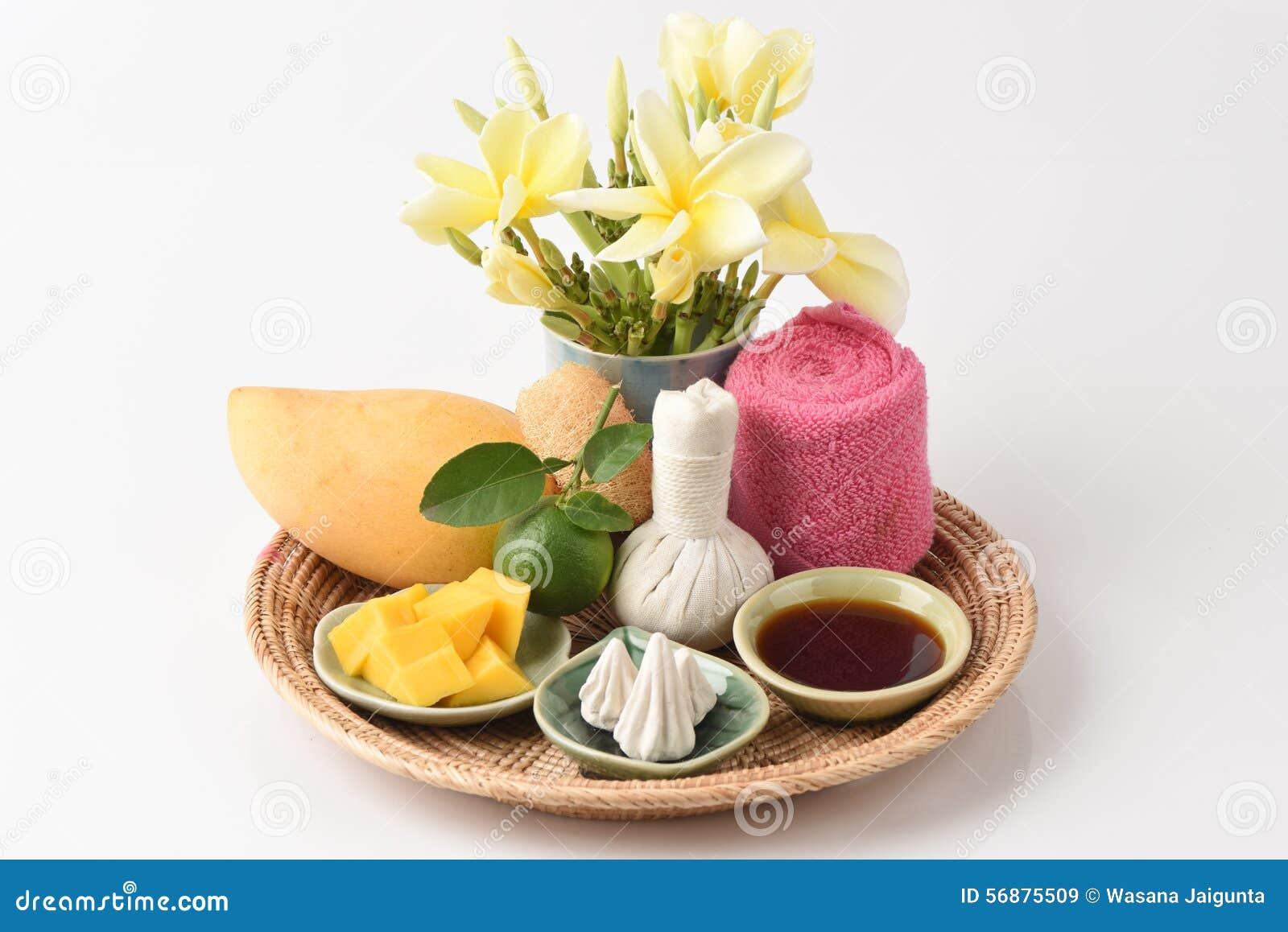 Gezichtsmasker met mango, kalk honing en hygiënisch, DIN-sor pong (Thaise naam)