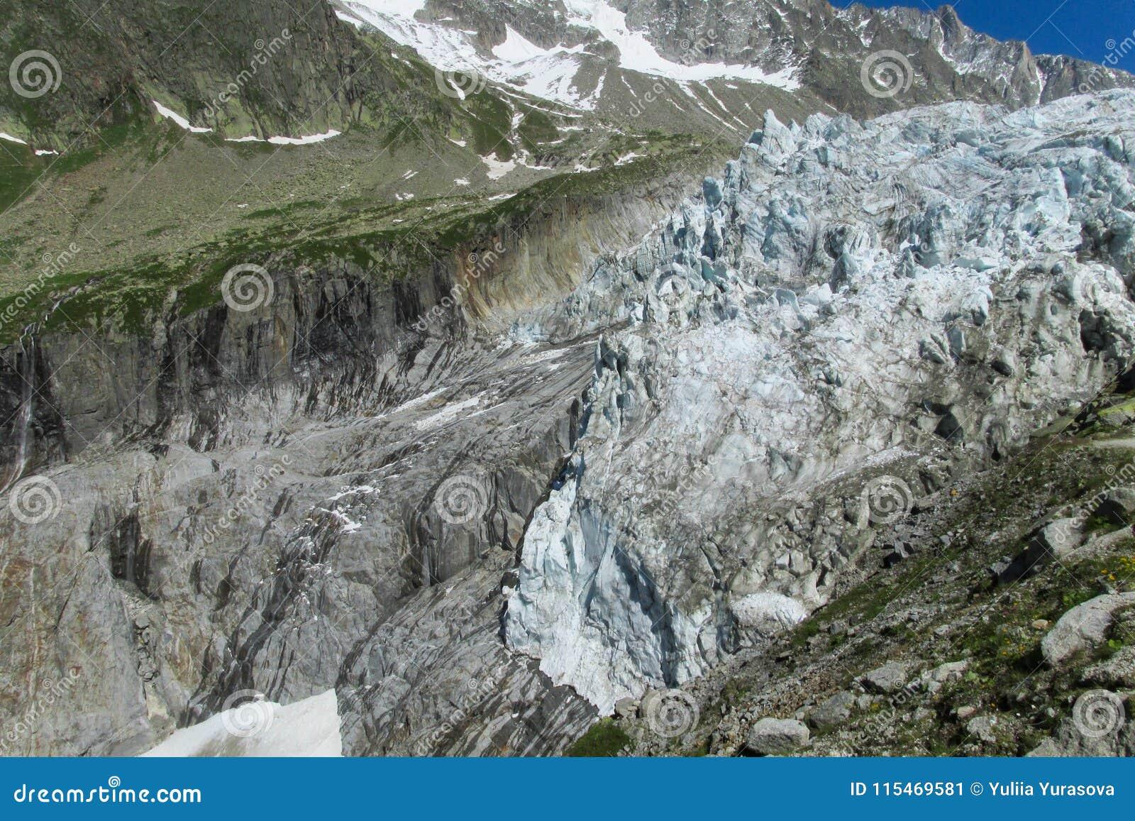 Gezichtspunt van de Argentiere het schilderachtige gletsjer in de Alpen