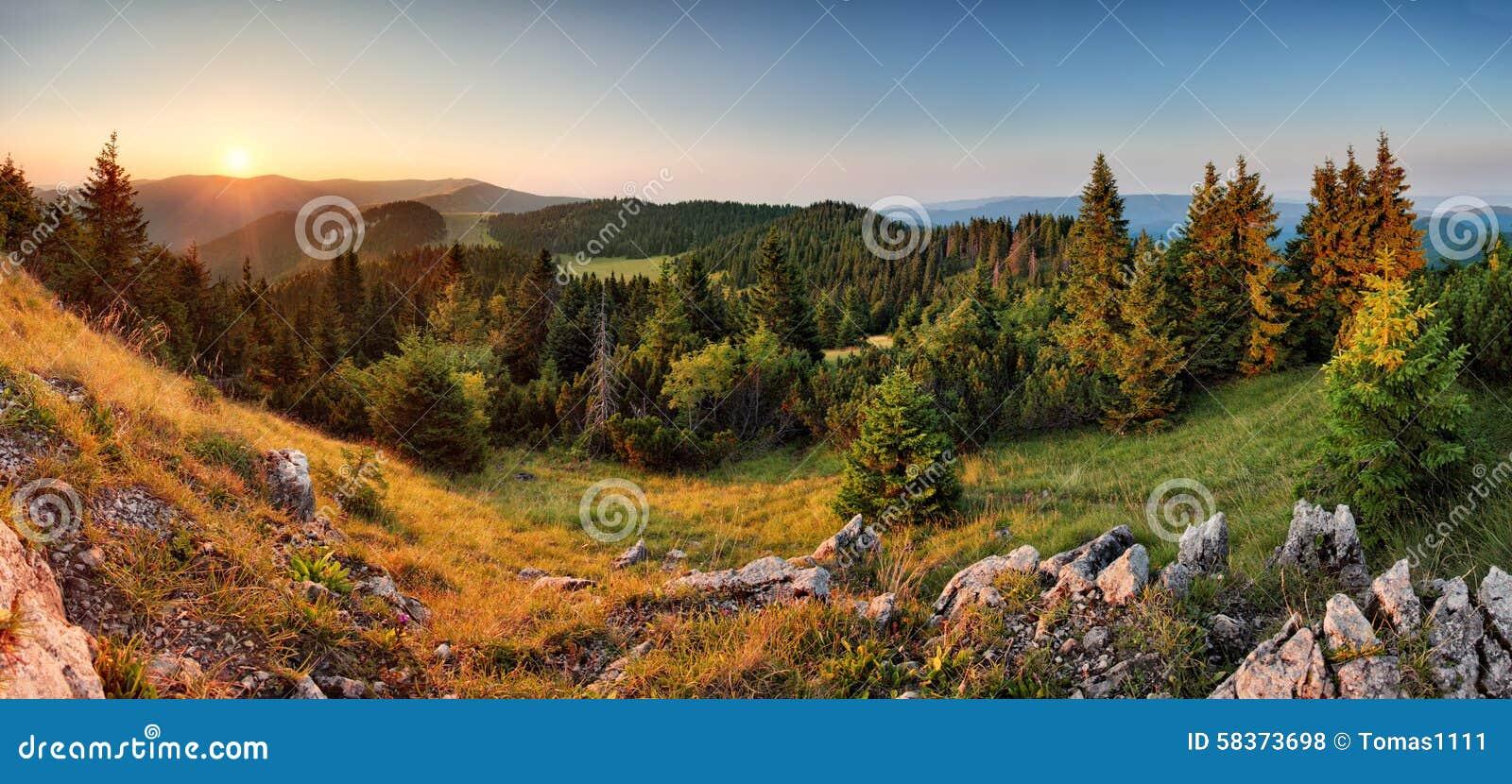 Gezierter Waldgrün-Berglandschaftspanoramasonnenuntergang - Slowakei