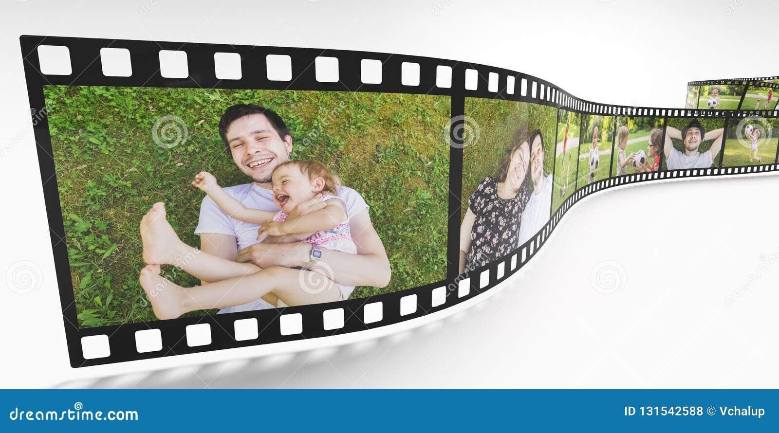 Gezinslevenconcept Foto s van gelukkige familie op filmstrook 3D teruggegeven illustratie