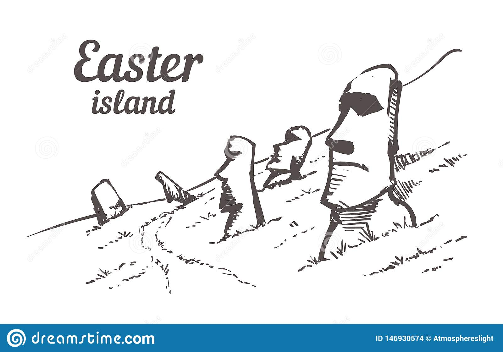 Gezogene Skizze Moais in Nationalpark Rapa Nui auf den Steigungen von Rano Raruku-Vulkan auf Osterinsel