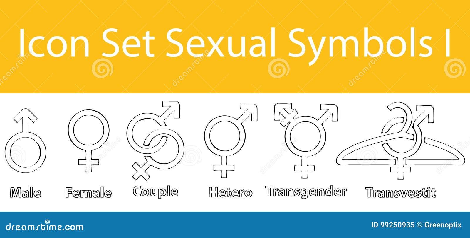 Gezogenes Gekritzel zeichnete Ikonen-gesetzte sexuelle Symbole I