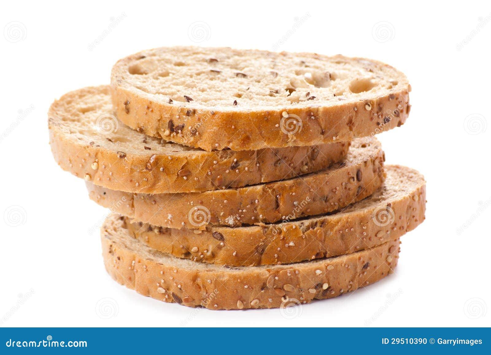 Gezond geheel korrel gesneden brood met zonnebloemzaden op witte B