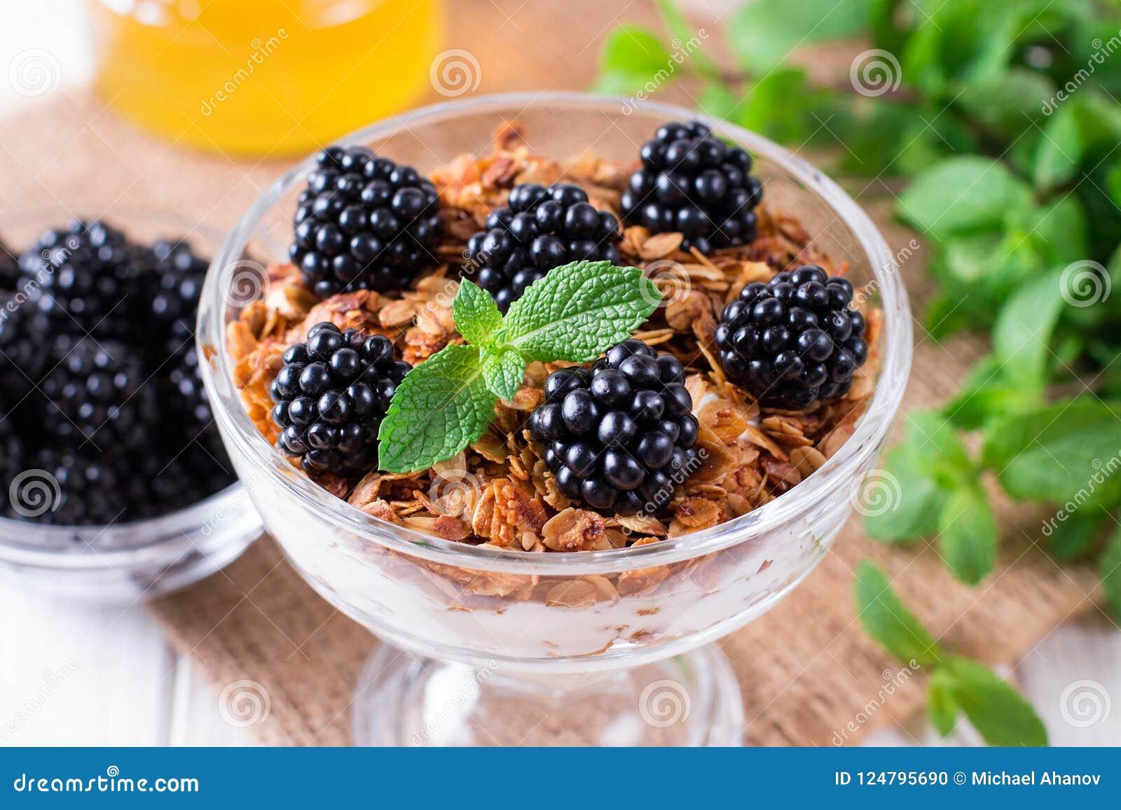 Gezond gelaagd dessert met yoghurt, granola, braambes in glas op houten achtergrond