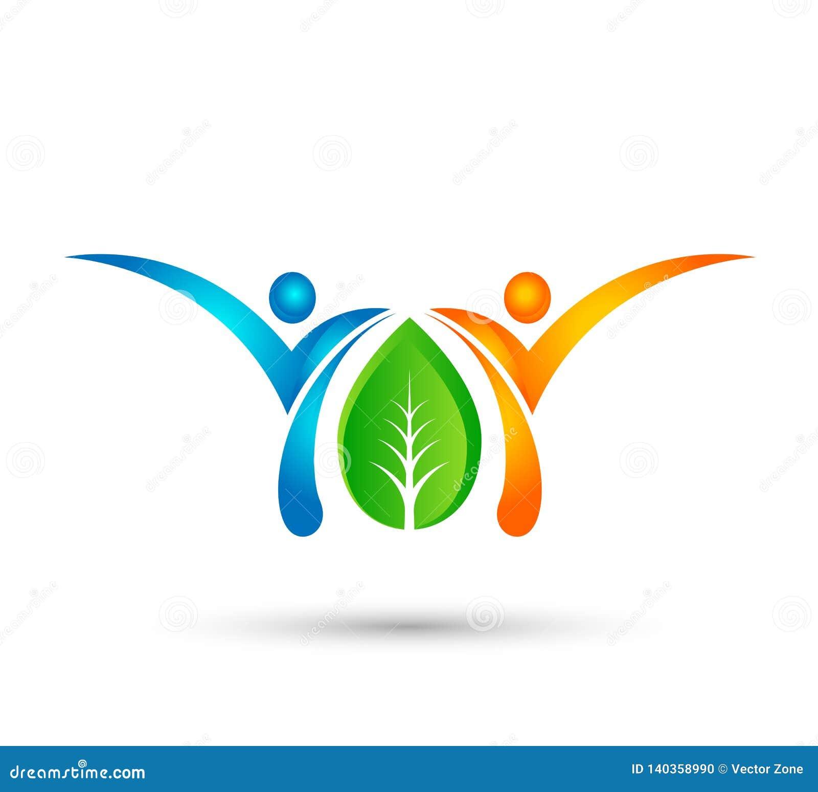 Gezond groen conceptenembleem, de mensenembleem van het ecoleven, zorg, het malplaatje van de mensenzorg Geschiktheid, fysiothera