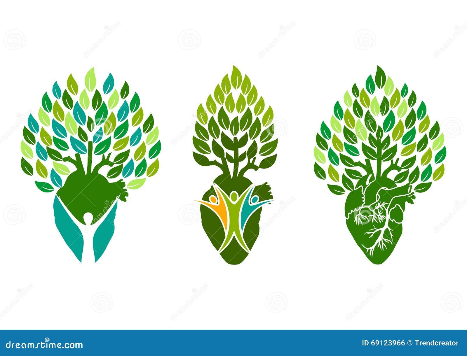 Gezond hartembleem, het symbool van boommensen, het conceptontwerp van het wellnesshart