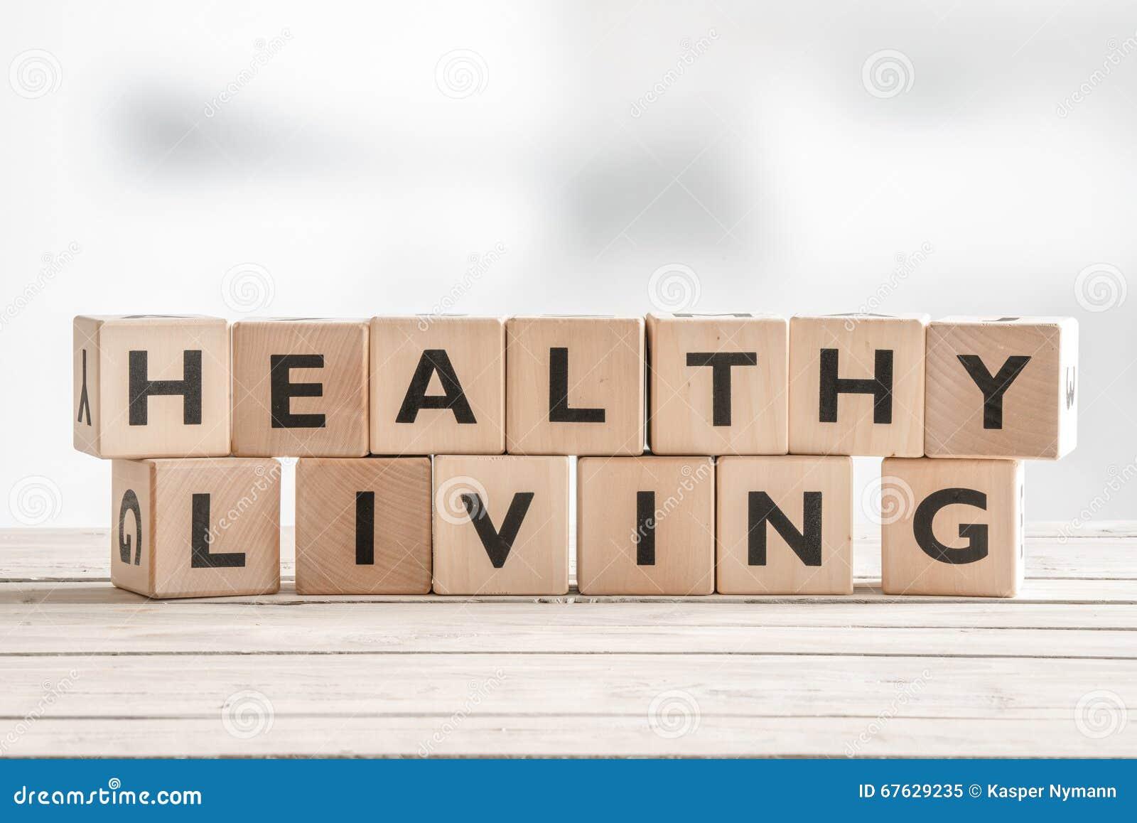 Gezond het leven teken met houten kubussen