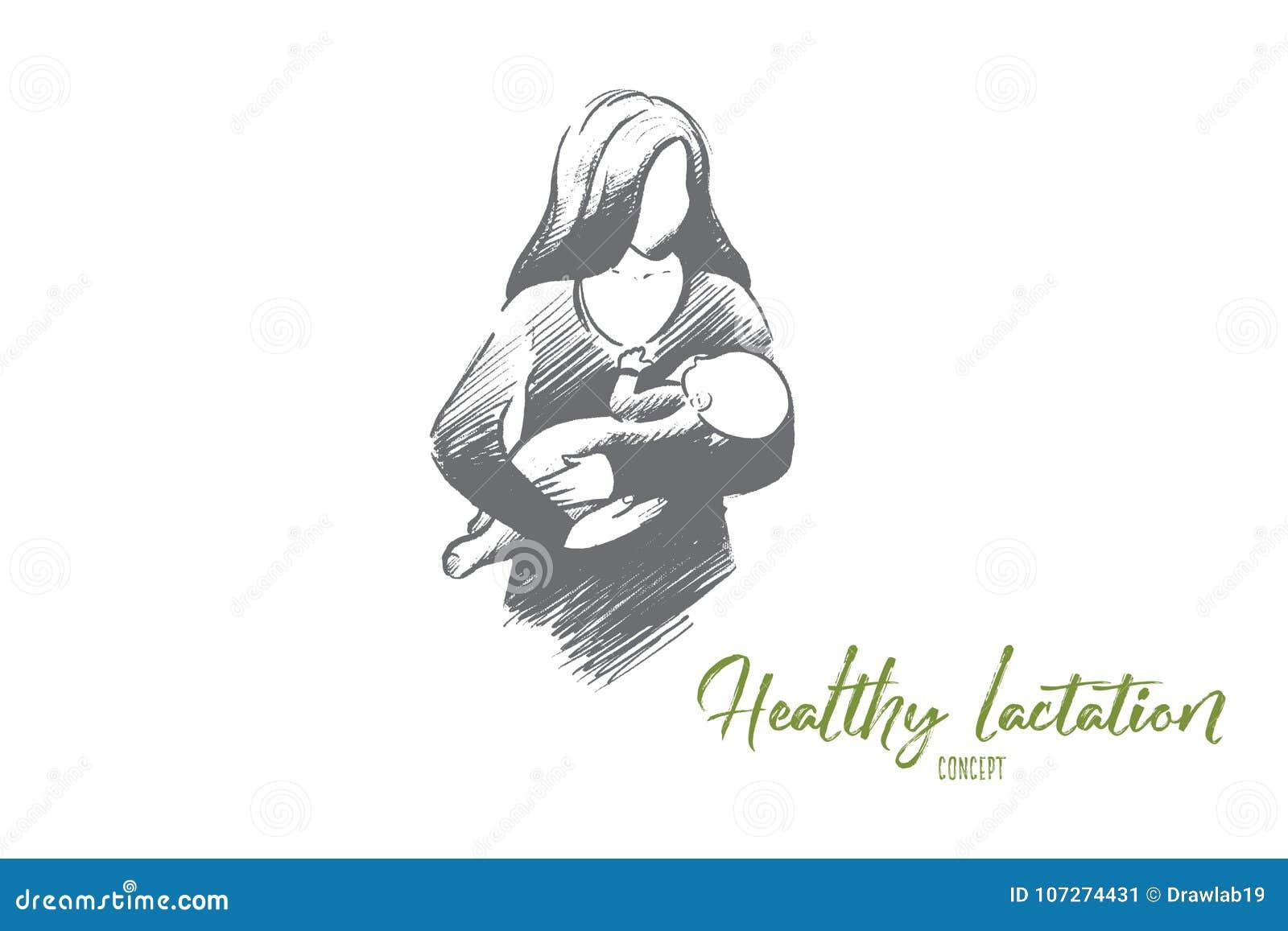 Gezond lactatieconcept Hand getrokken geïsoleerde vector