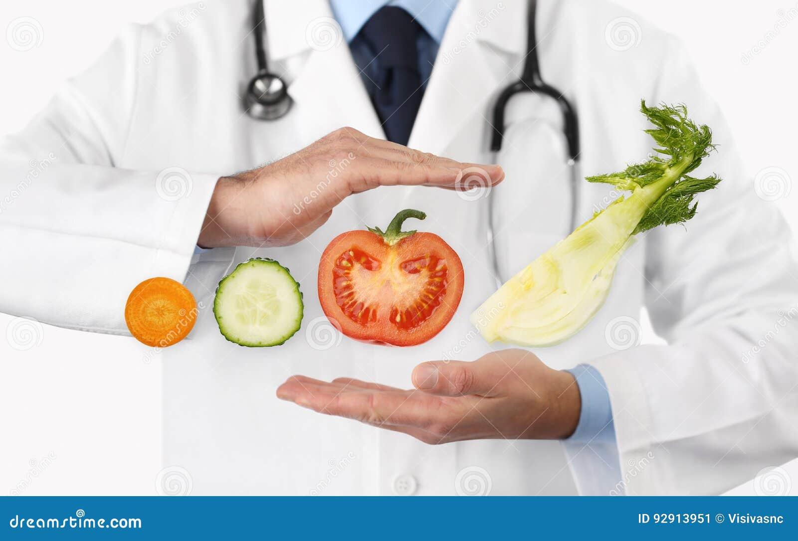 Gezond voedsel en het natuurlijke concept van het voedings medische dieet, handen D
