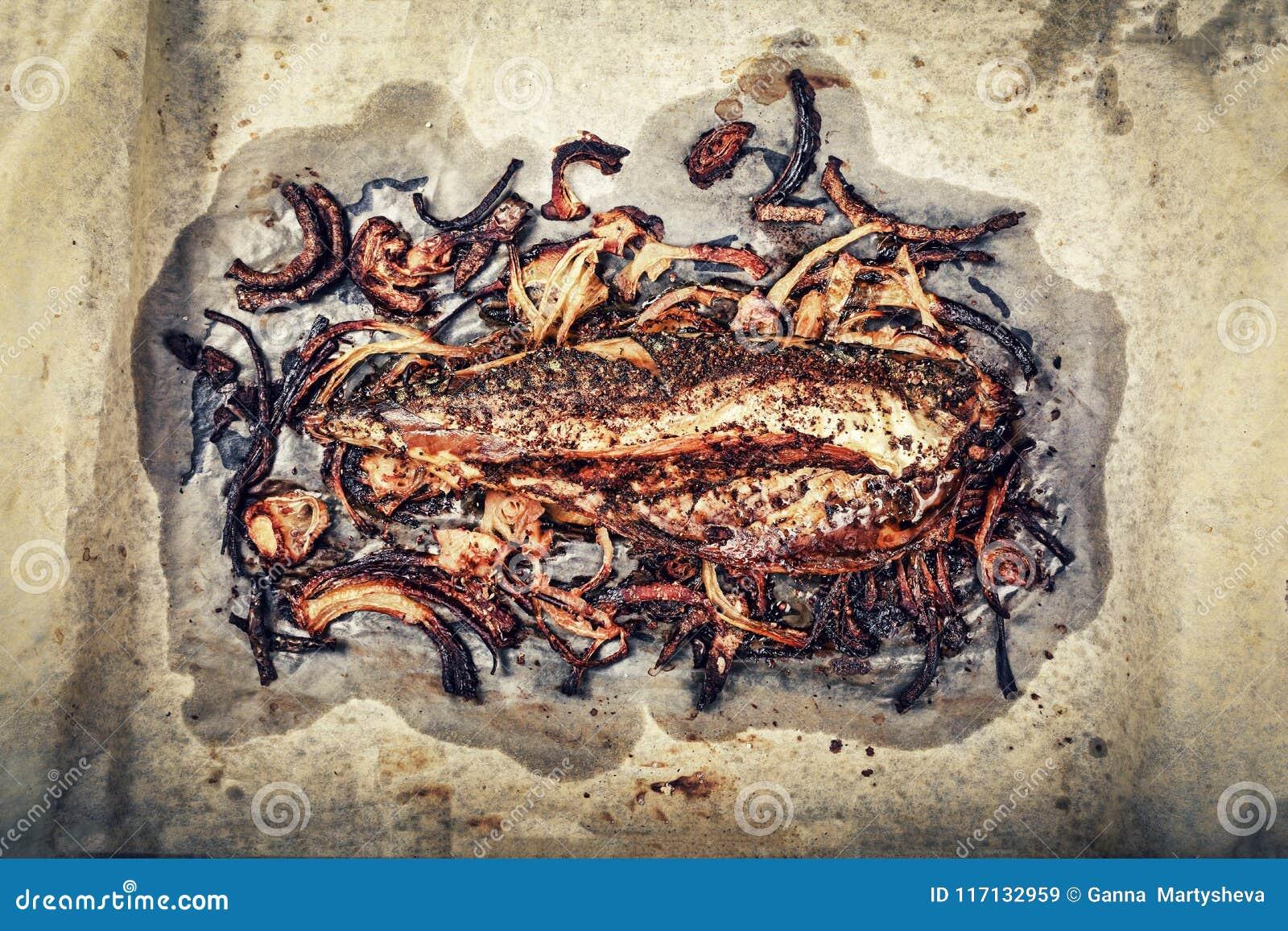Gezond voedsel Gebakken vissen, Dieet Omega 3, het koken, diner, eten openlucht, zeevruchten, hoogste mening