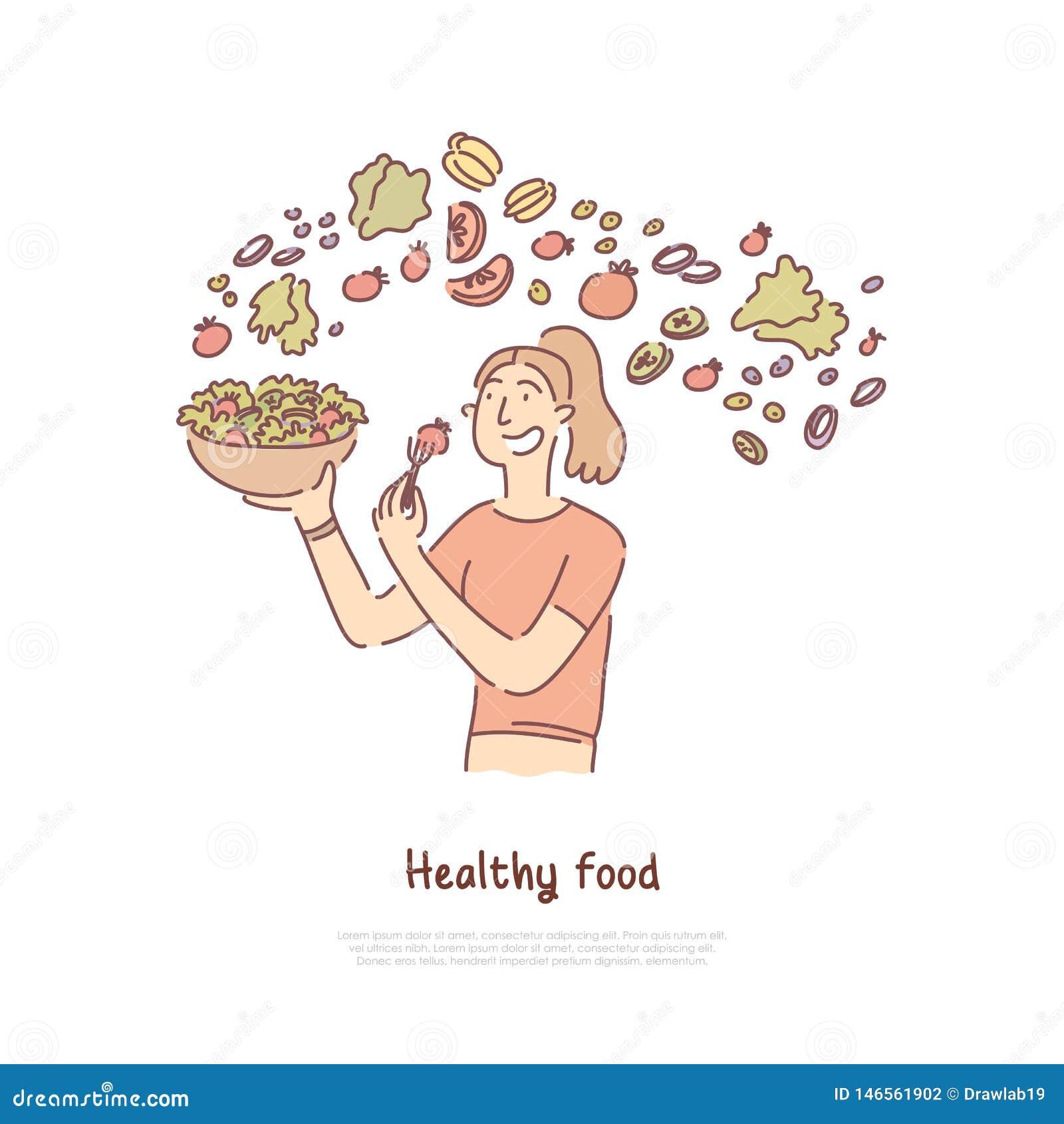 Gezond voedsel, vrouw groentensalade eten, vegetarische dieet, vitaminen en van voedings rijke veggies banner die