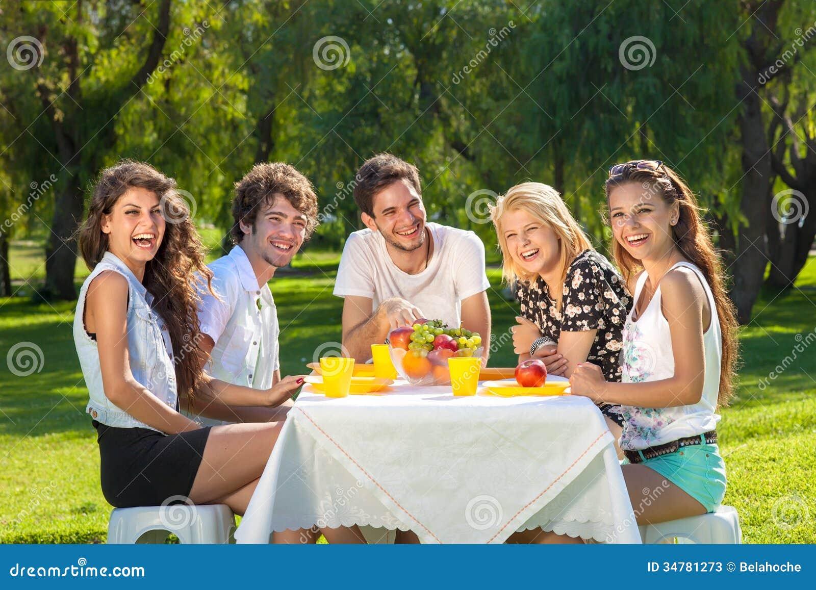 Gezonde jonge tieners die van een de zomerpicknick genieten