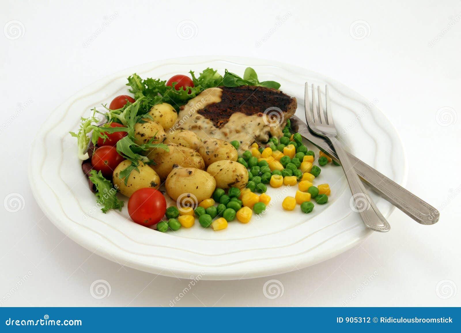 Gezonde voedsel, lapje vlees, aardappels en salade