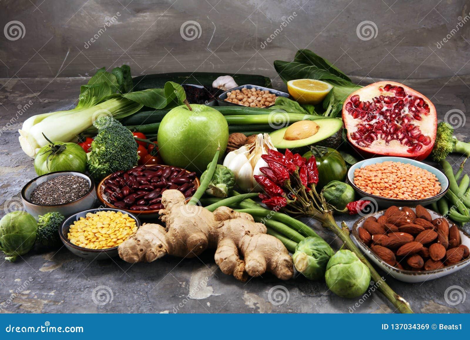 Gezonde voedsel schone het eten selectie E